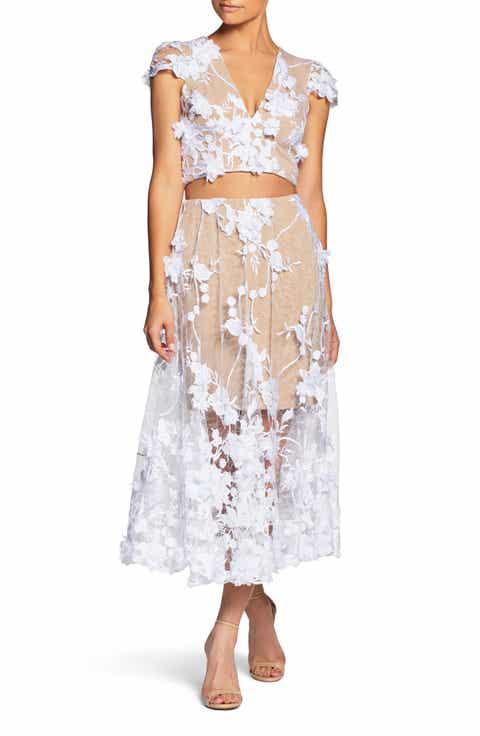 Dress The Population Juliana 3D Lace Two Piece BLACK PEACH WHITE