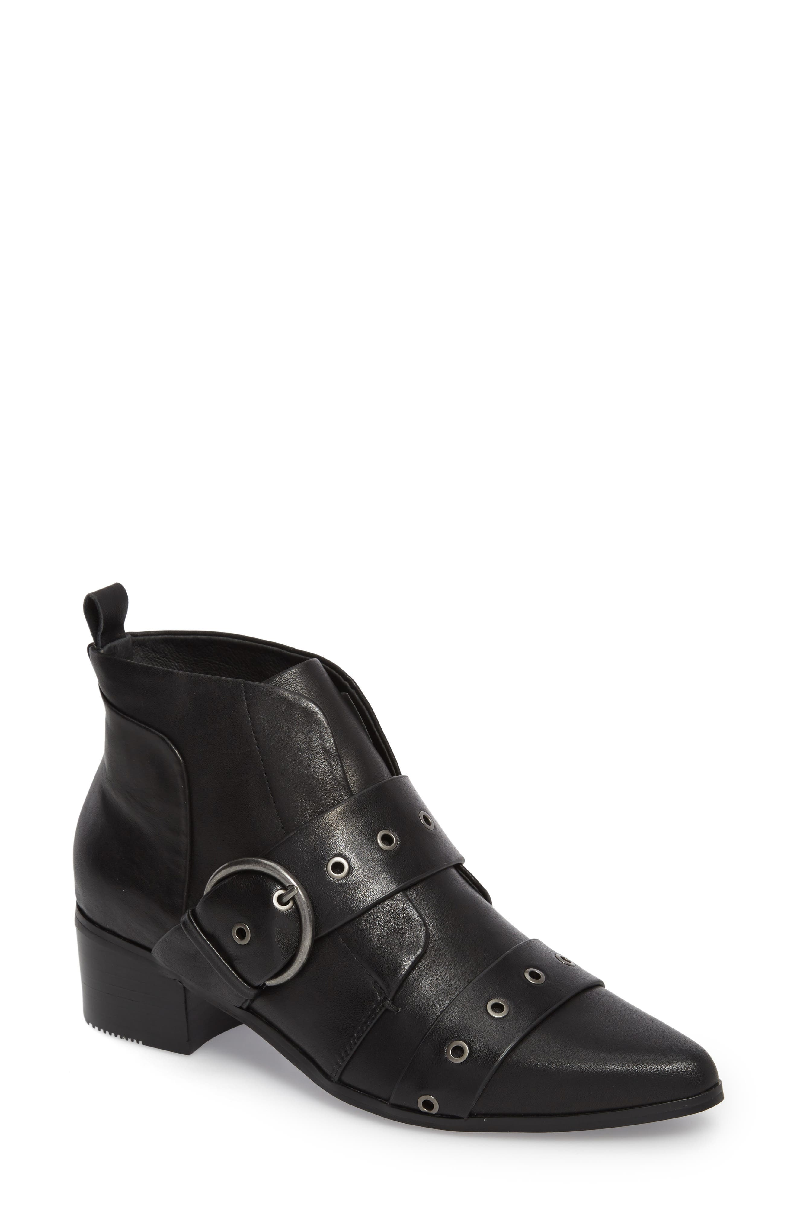 Buckle Strap Bootie,                             Main thumbnail 1, color,                             Black Leather