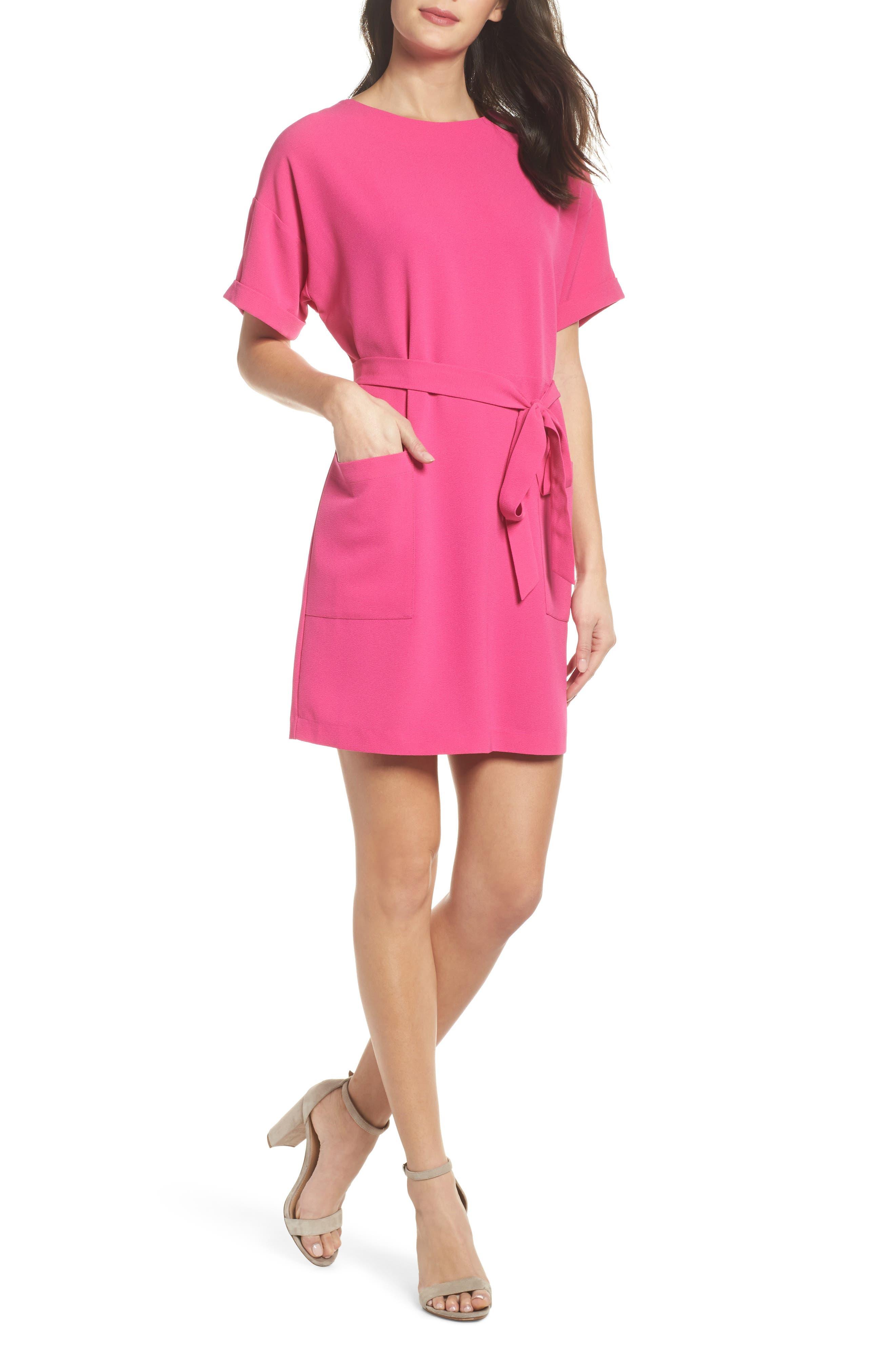 Halia Tie Waist Dress,                             Main thumbnail 1, color,                             Pink