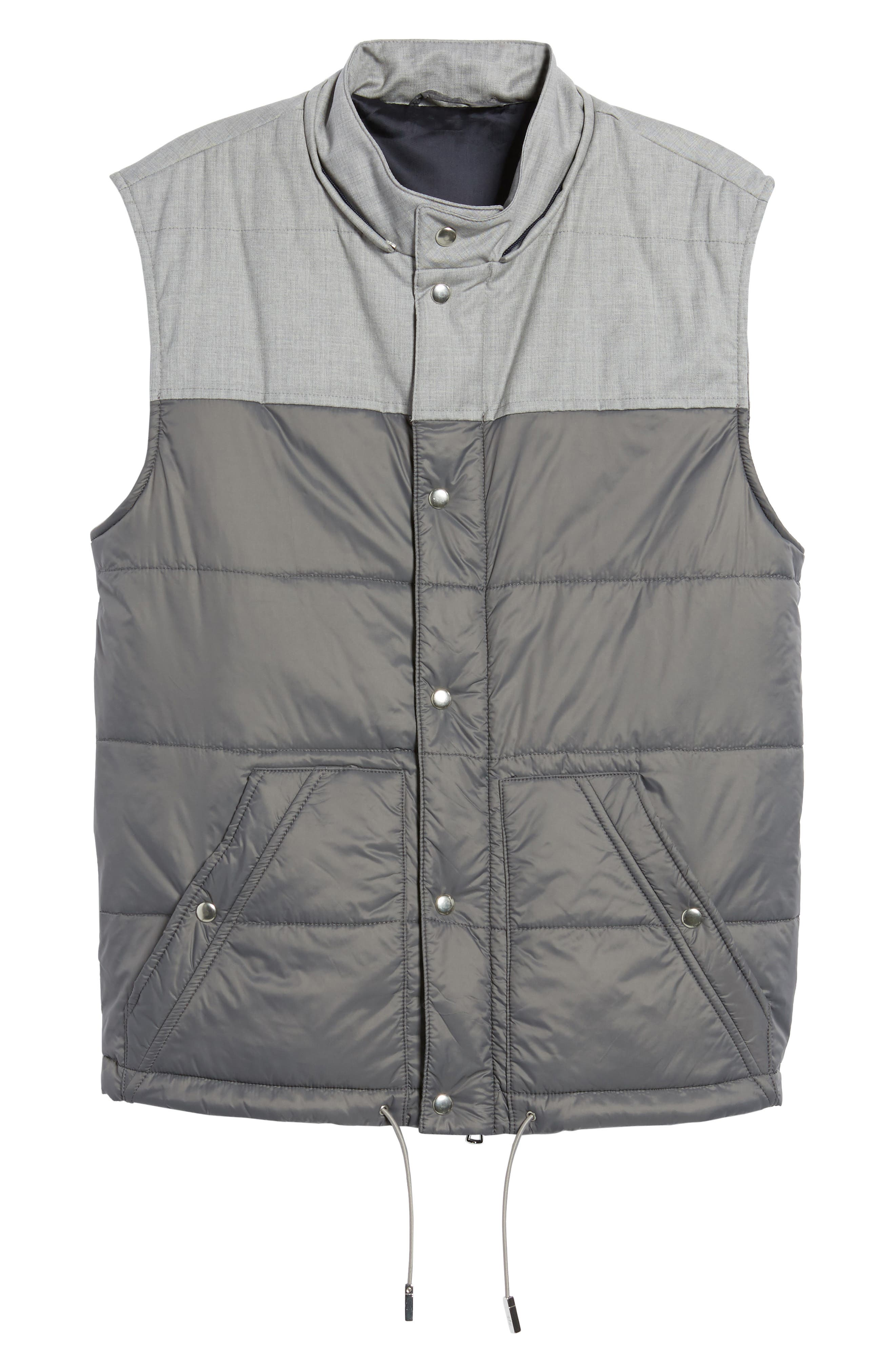 Mixed Media Quilted Vest,                             Alternate thumbnail 6, color,                             Grey