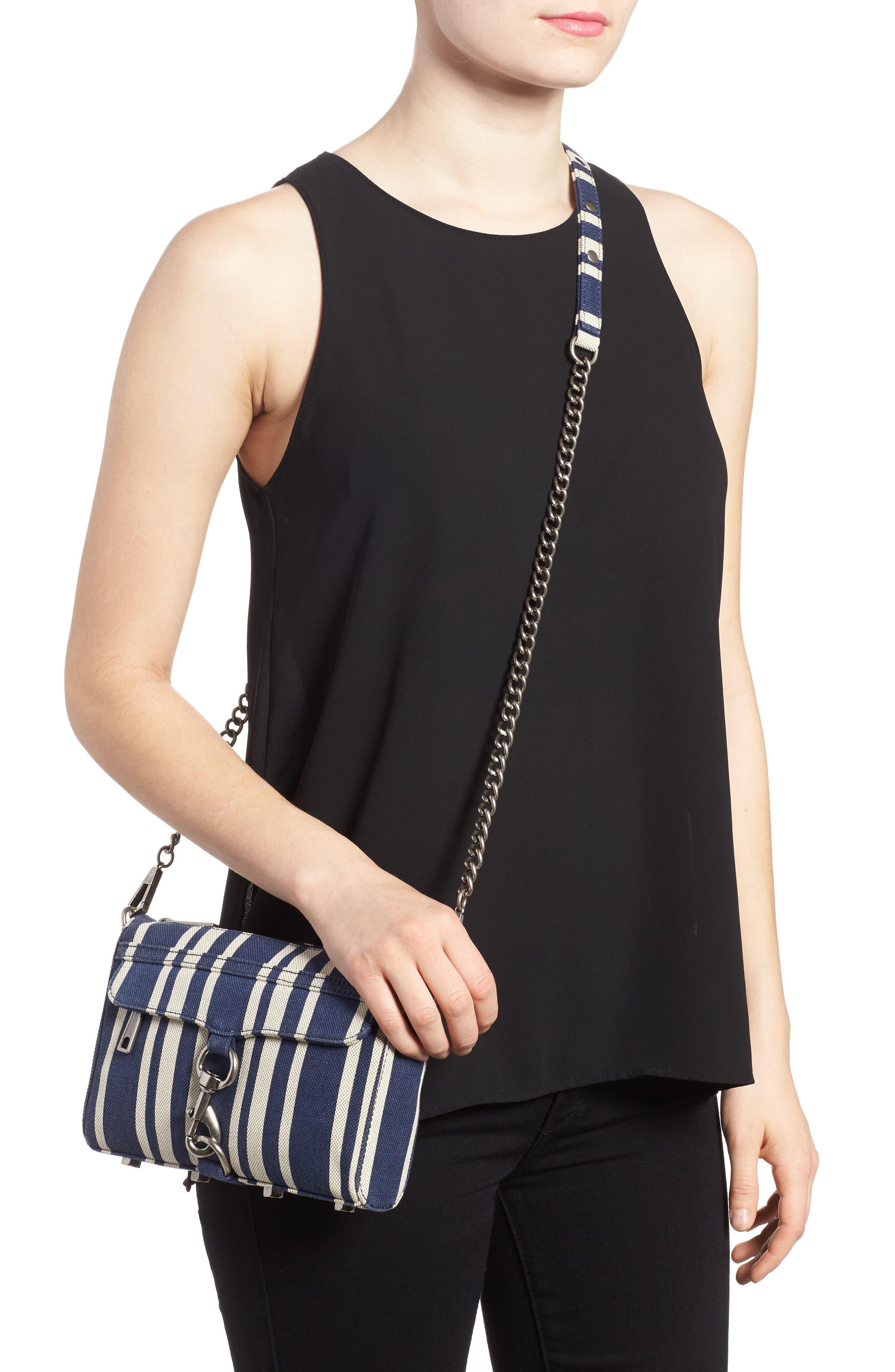 Mini MAC Stripe Canvas Convertible Crossbody Bag,                             Alternate thumbnail 2, color,                             Navy Stripe
