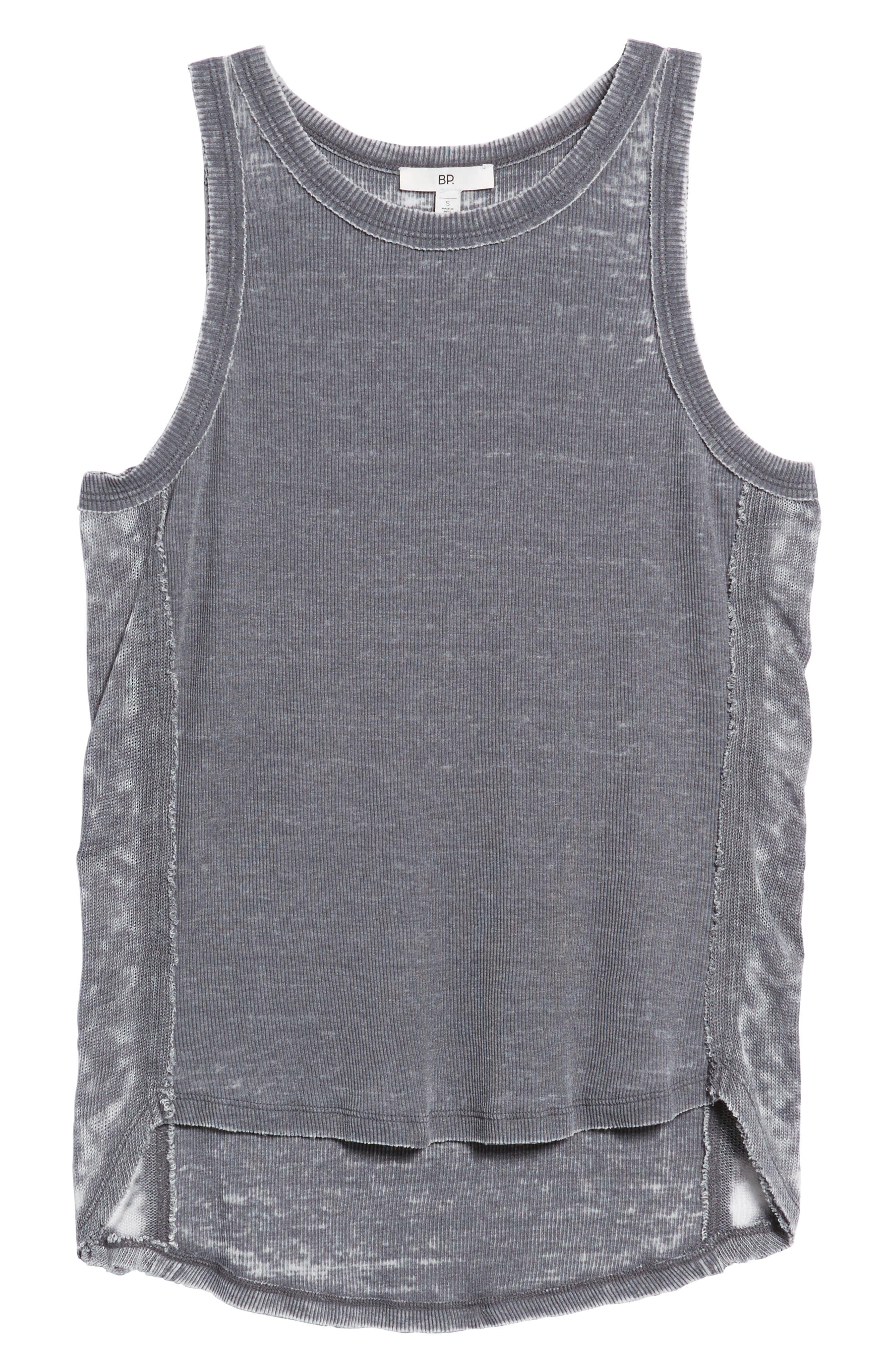 Mixed Knit Tank,                             Alternate thumbnail 6, color,                             Grey Cloudburst
