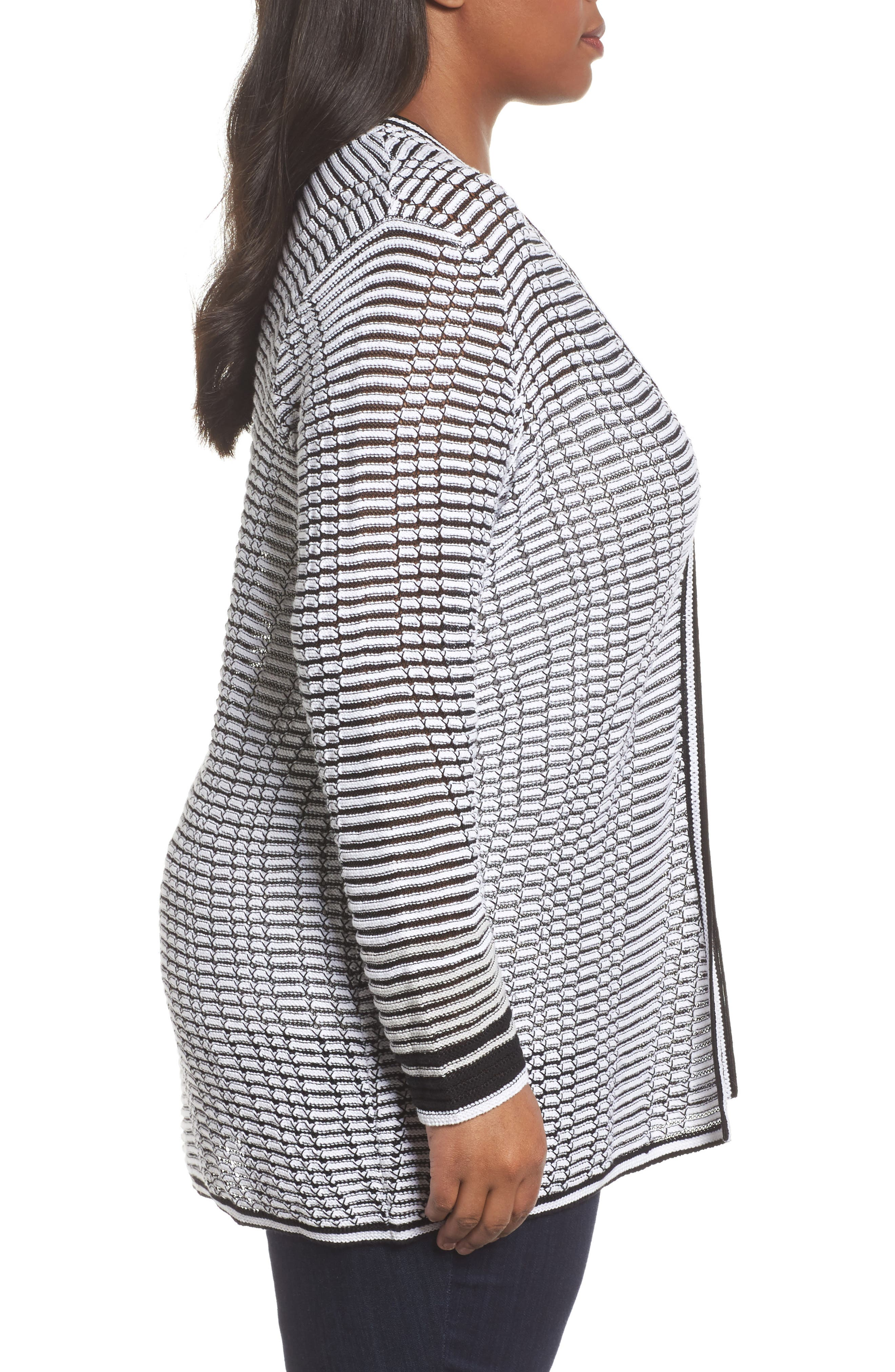 Alternate Image 3  - NIC+ZOE Striped Space Cardigan (Plus Size)