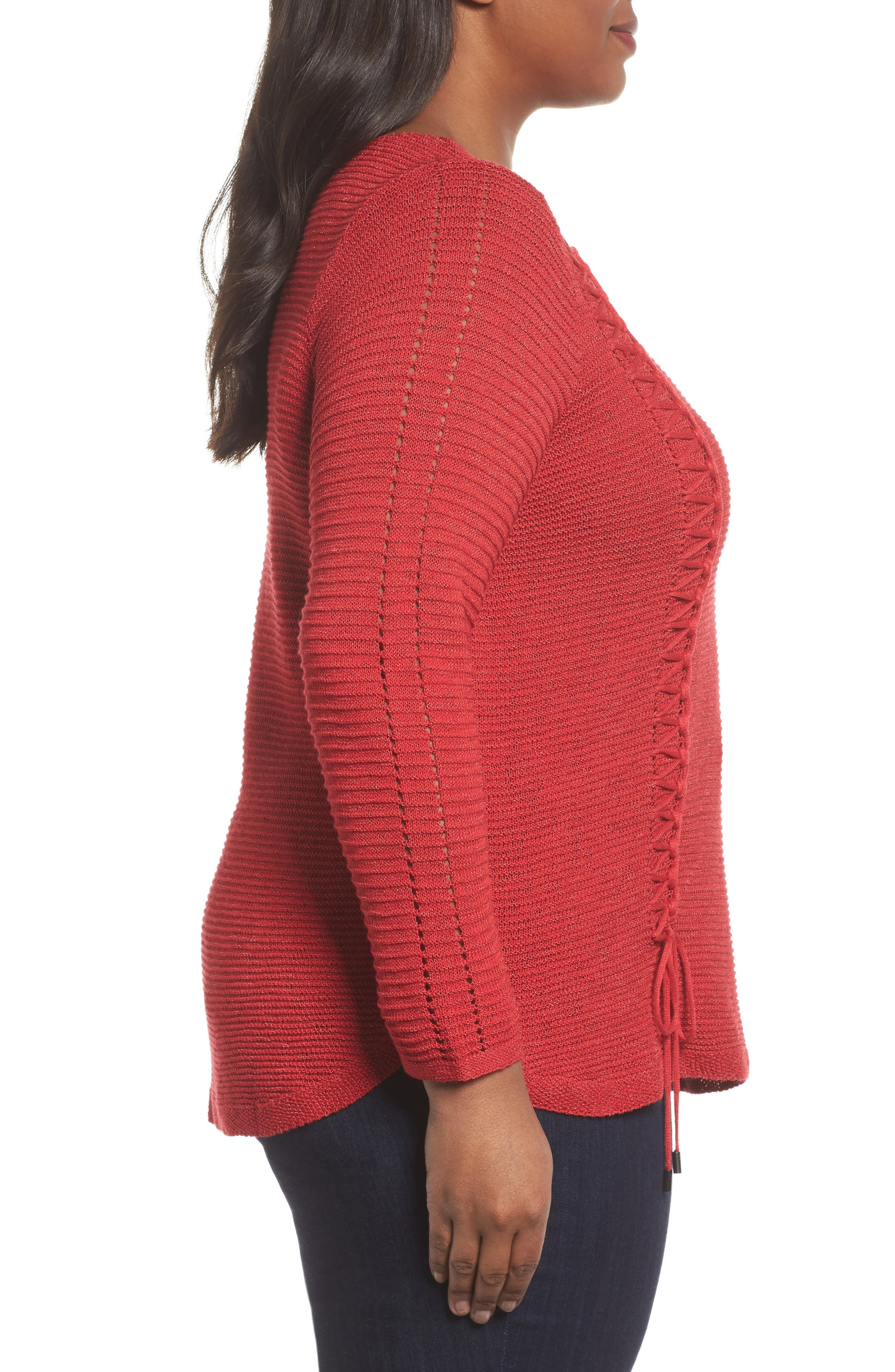 Braided Up Sweater,                             Alternate thumbnail 3, color,                             True Red