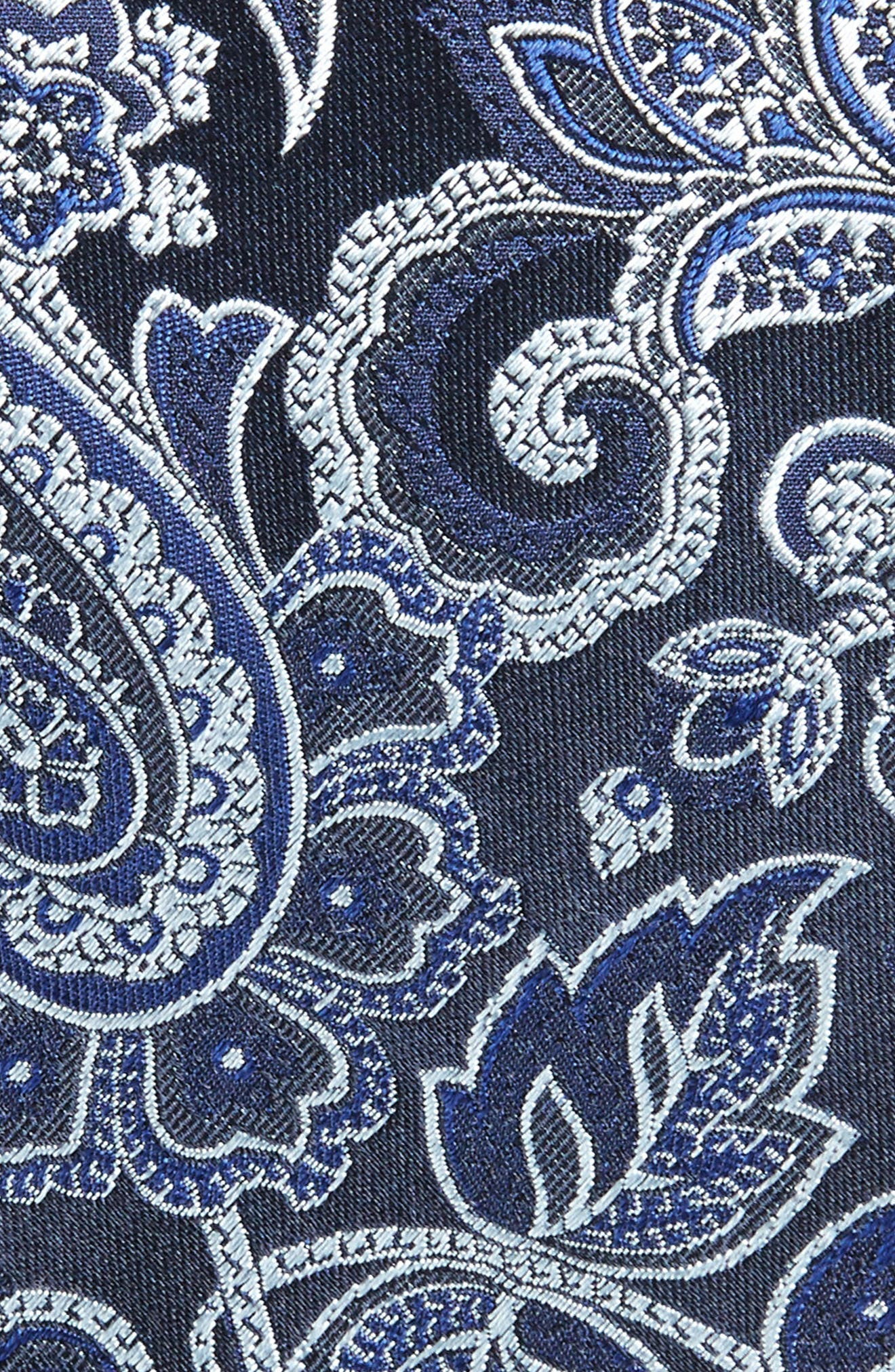 Paisley Silk Tie,                             Alternate thumbnail 2, color,                             Black/ Navy