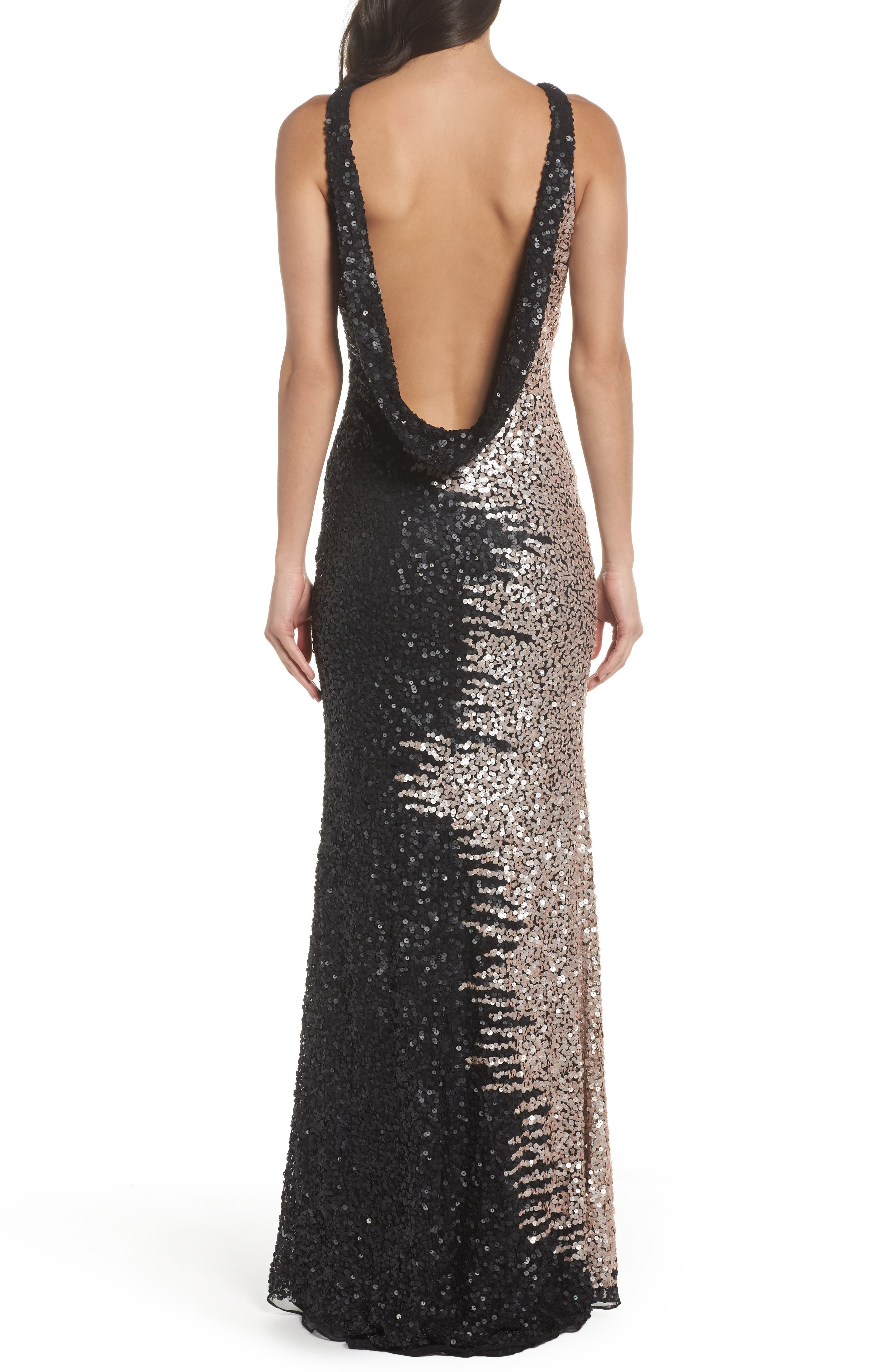 Cowl Back Sequin Gown,                             Alternate thumbnail 2, color,                             Black/Nude