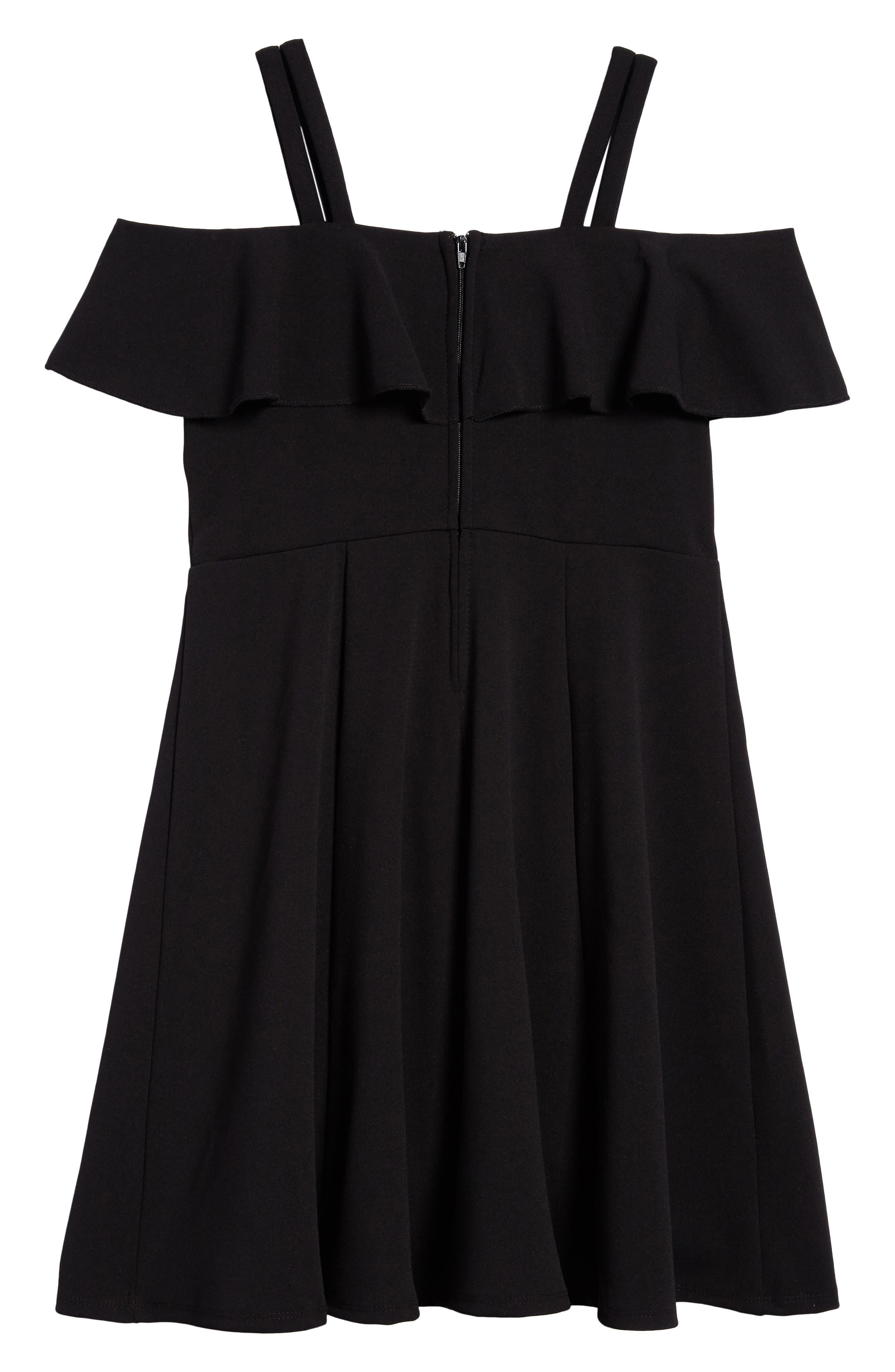 Off the Shoulder Ruffle Dress,                             Alternate thumbnail 2, color,                             Black