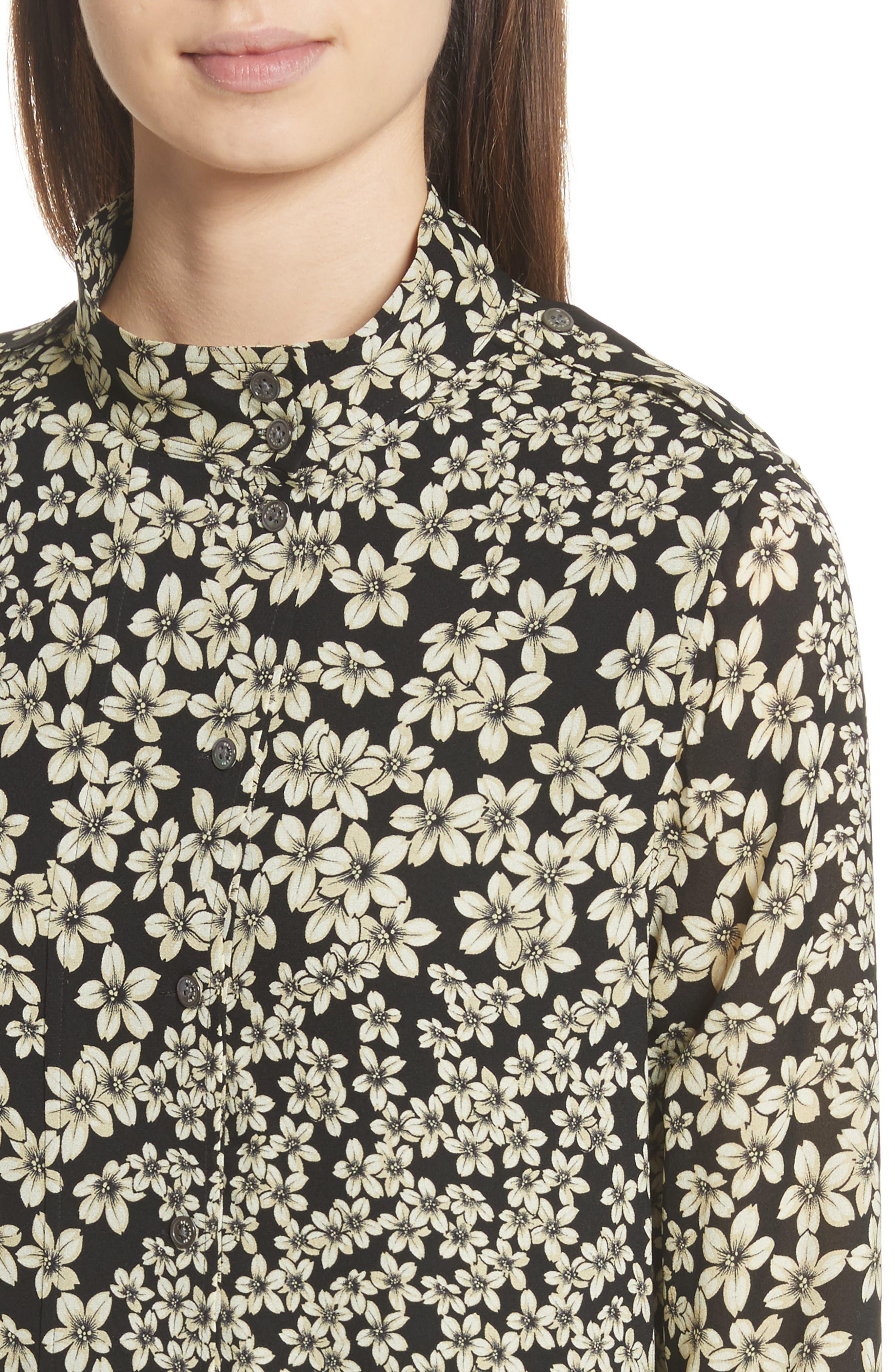 Freda Floral Print Silk Shirtdress,                             Alternate thumbnail 4, color,                             True Black Multi