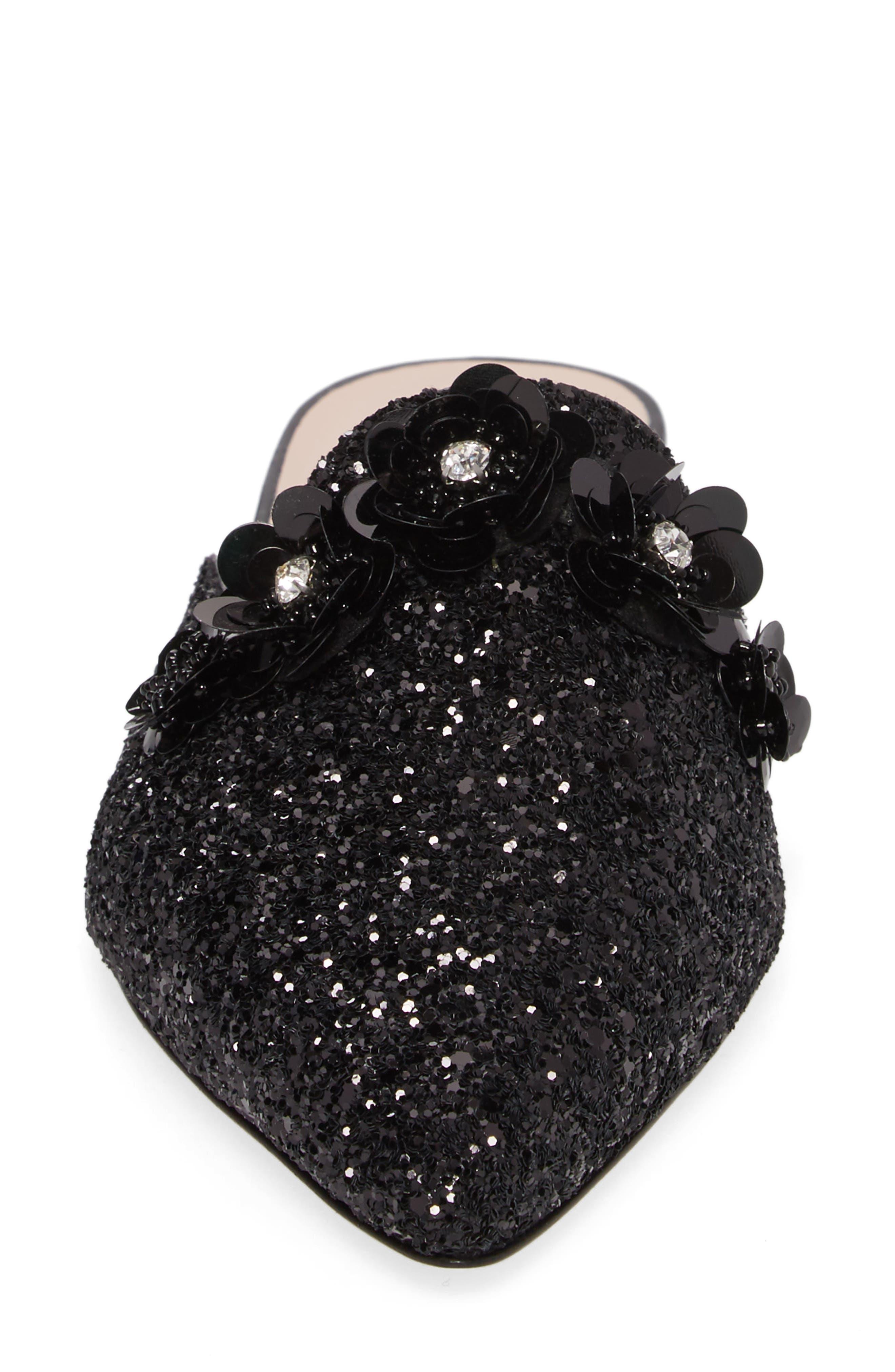 betty mule,                             Alternate thumbnail 4, color,                             Black Glitter