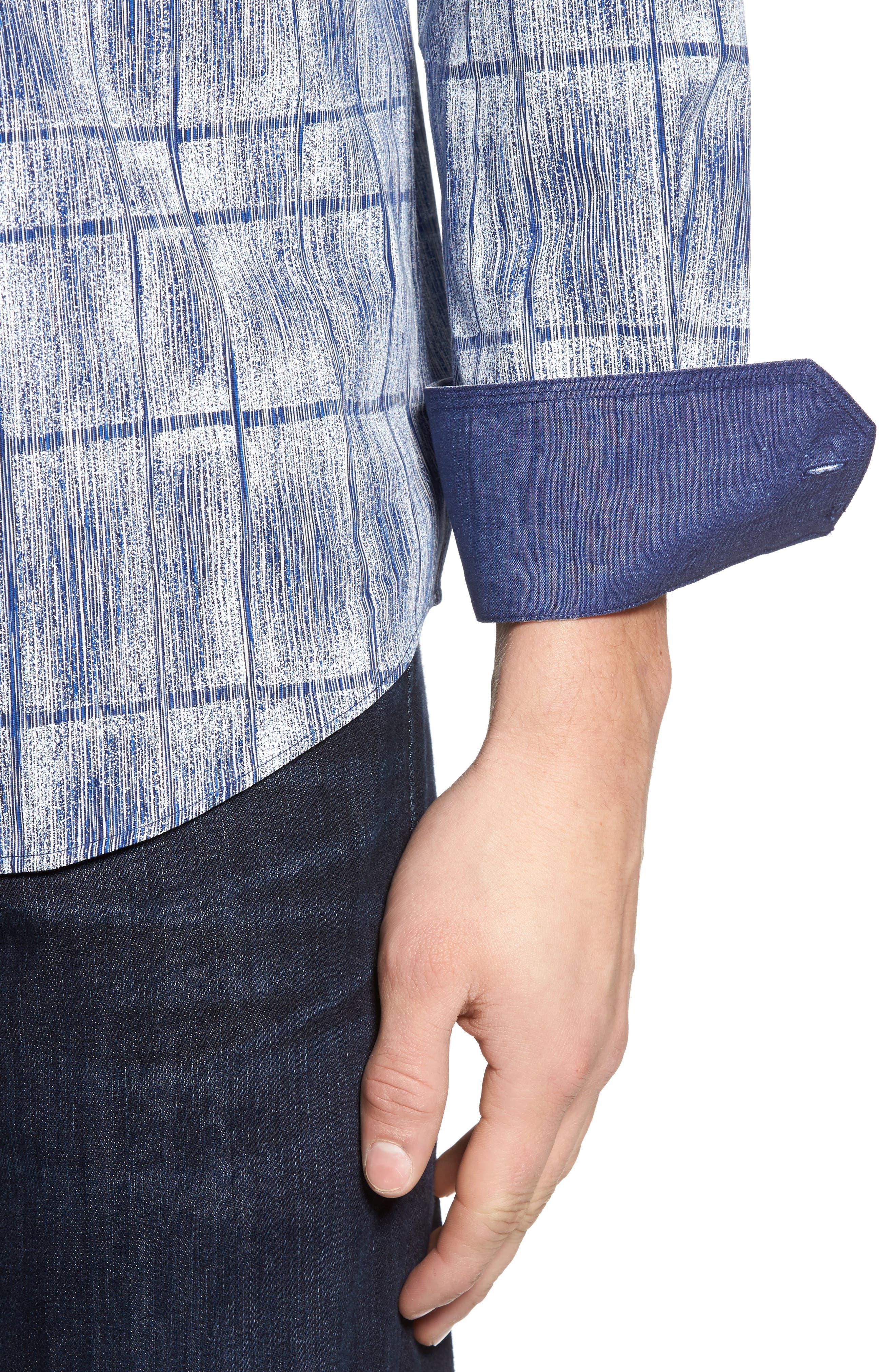 Classic Fit Print Sport Shirt,                             Alternate thumbnail 4, color,                             Cobalt