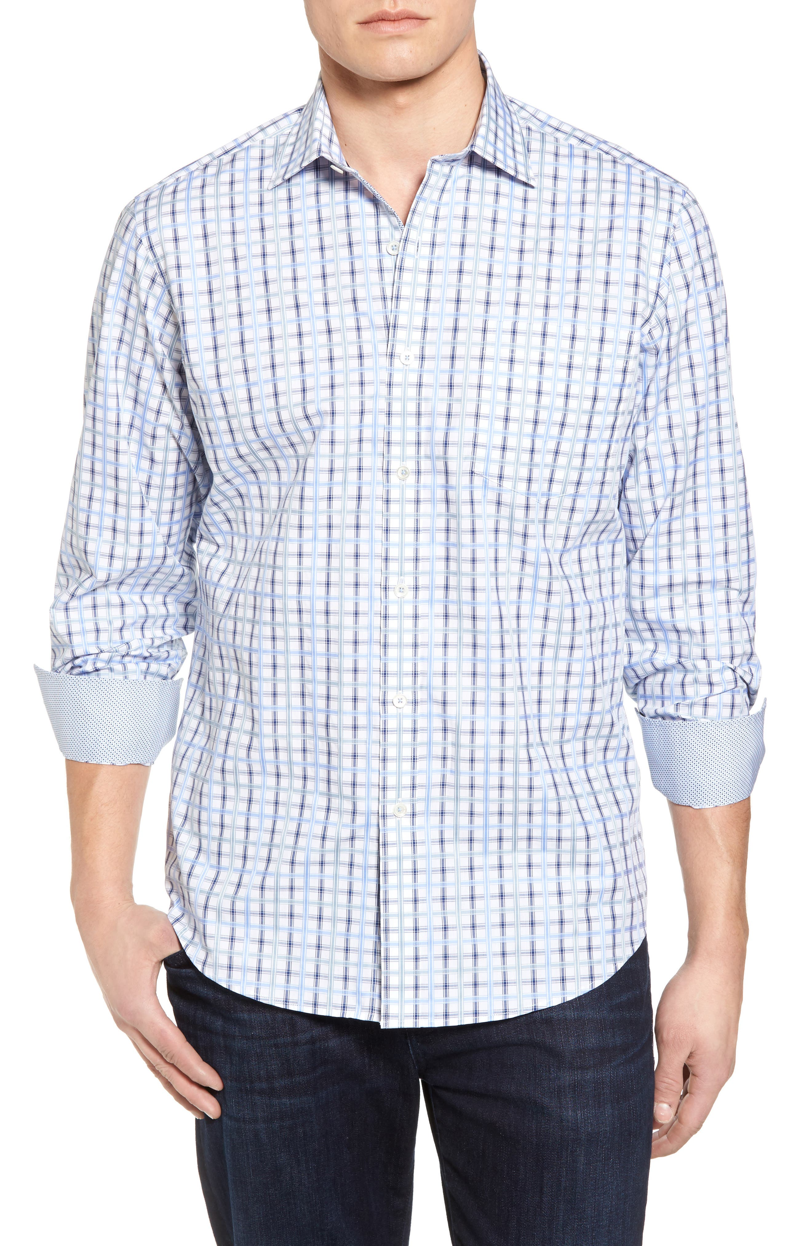 Classic Fit Check Sport Shirt,                         Main,                         color, Air Blue