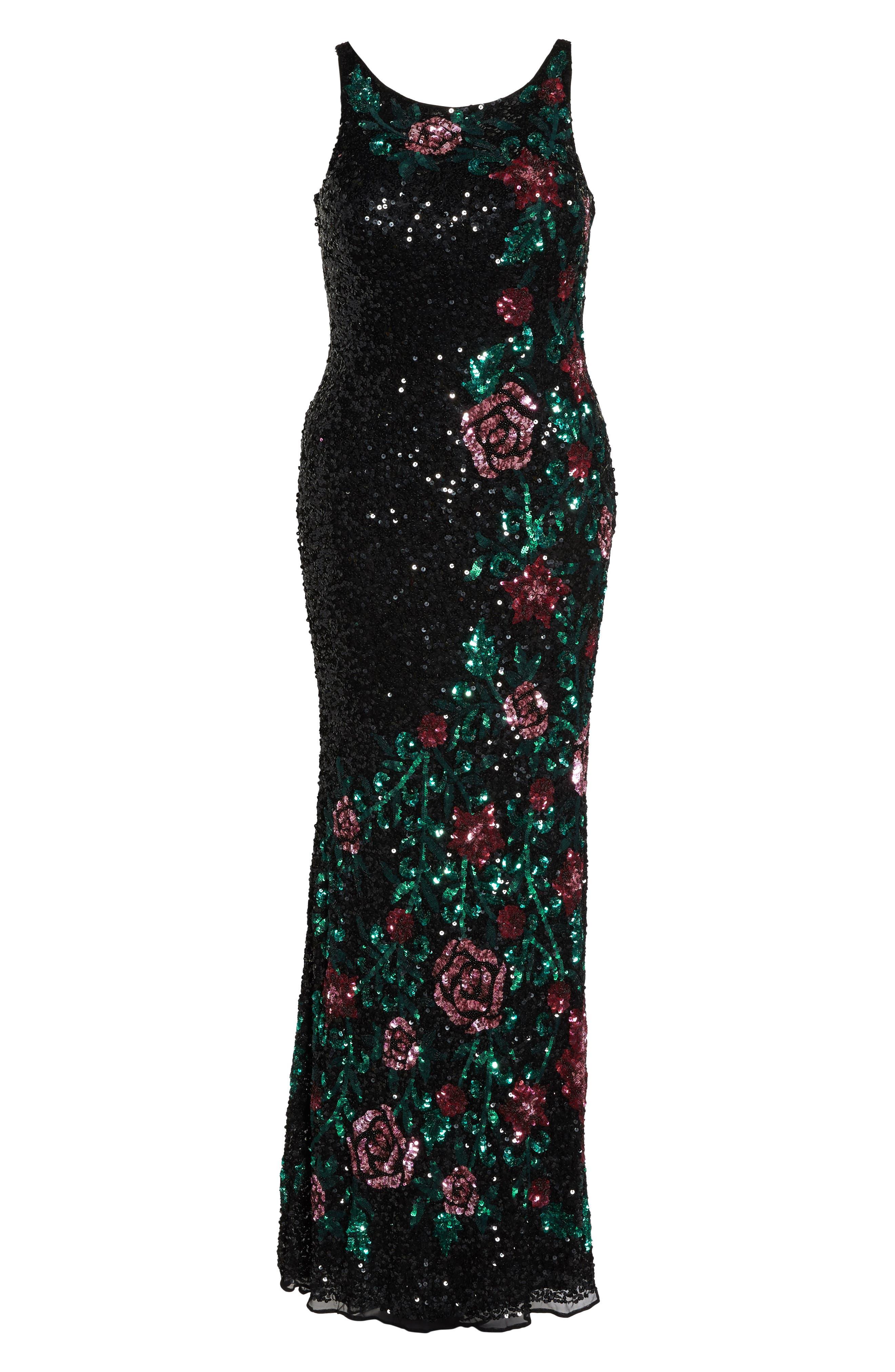 Floral Sequin A-Line Gown,                             Alternate thumbnail 6, color,                             Black/ Multi