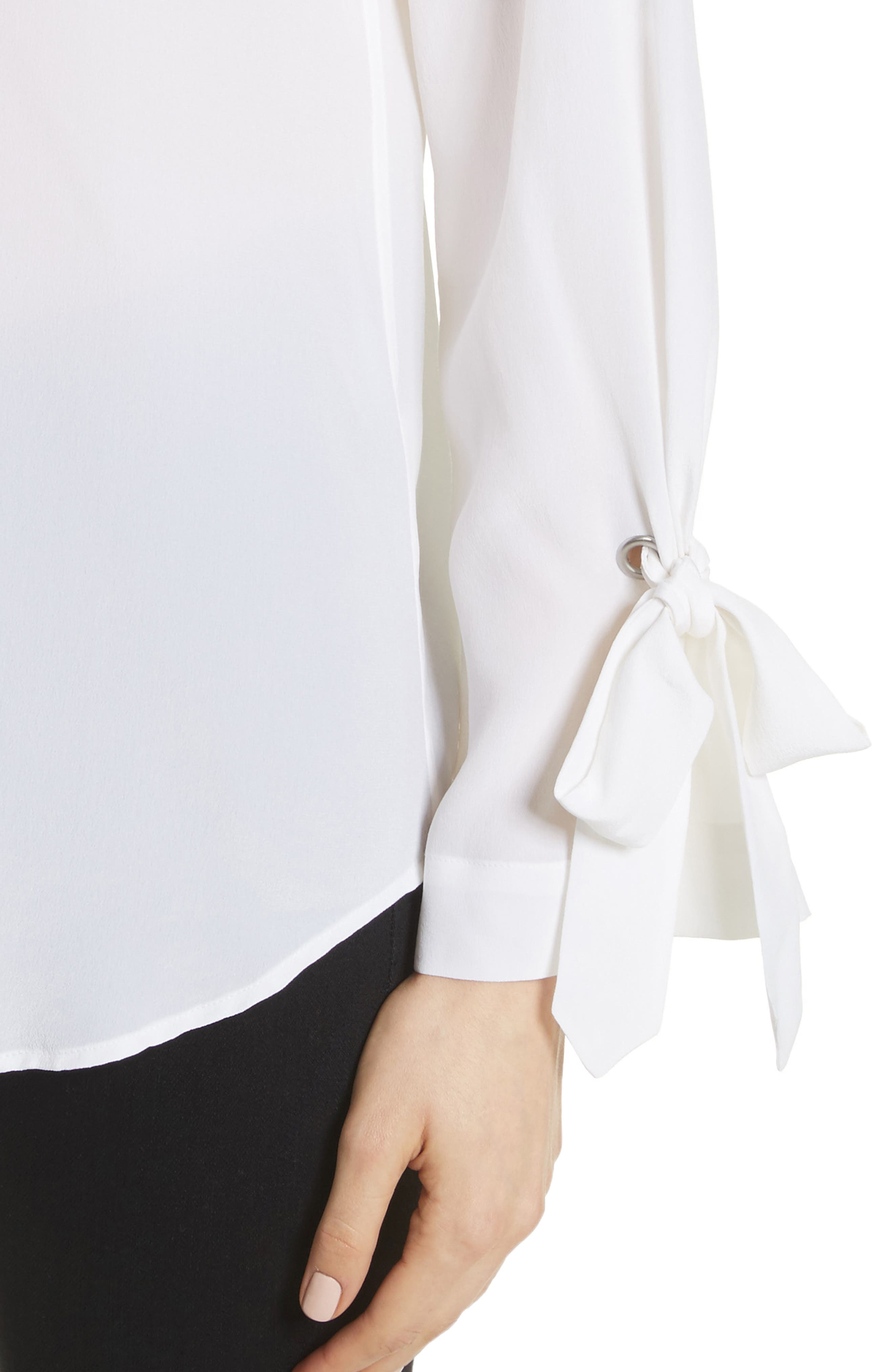 Sayer Tie Sleeve Silk Top,                             Alternate thumbnail 4, color,                             Bright White
