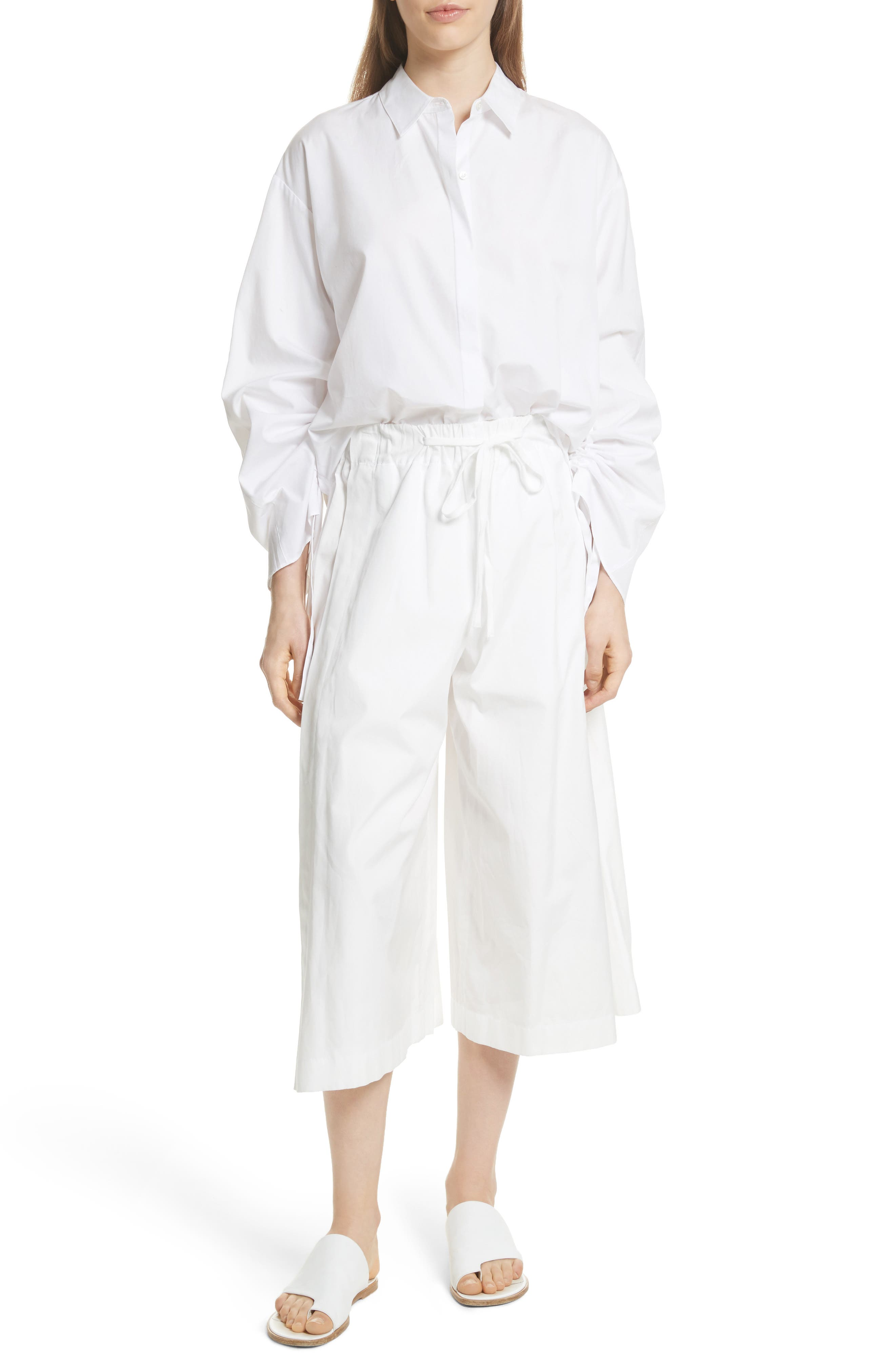 Side Slit Culottes,                             Alternate thumbnail 6, color,                             White