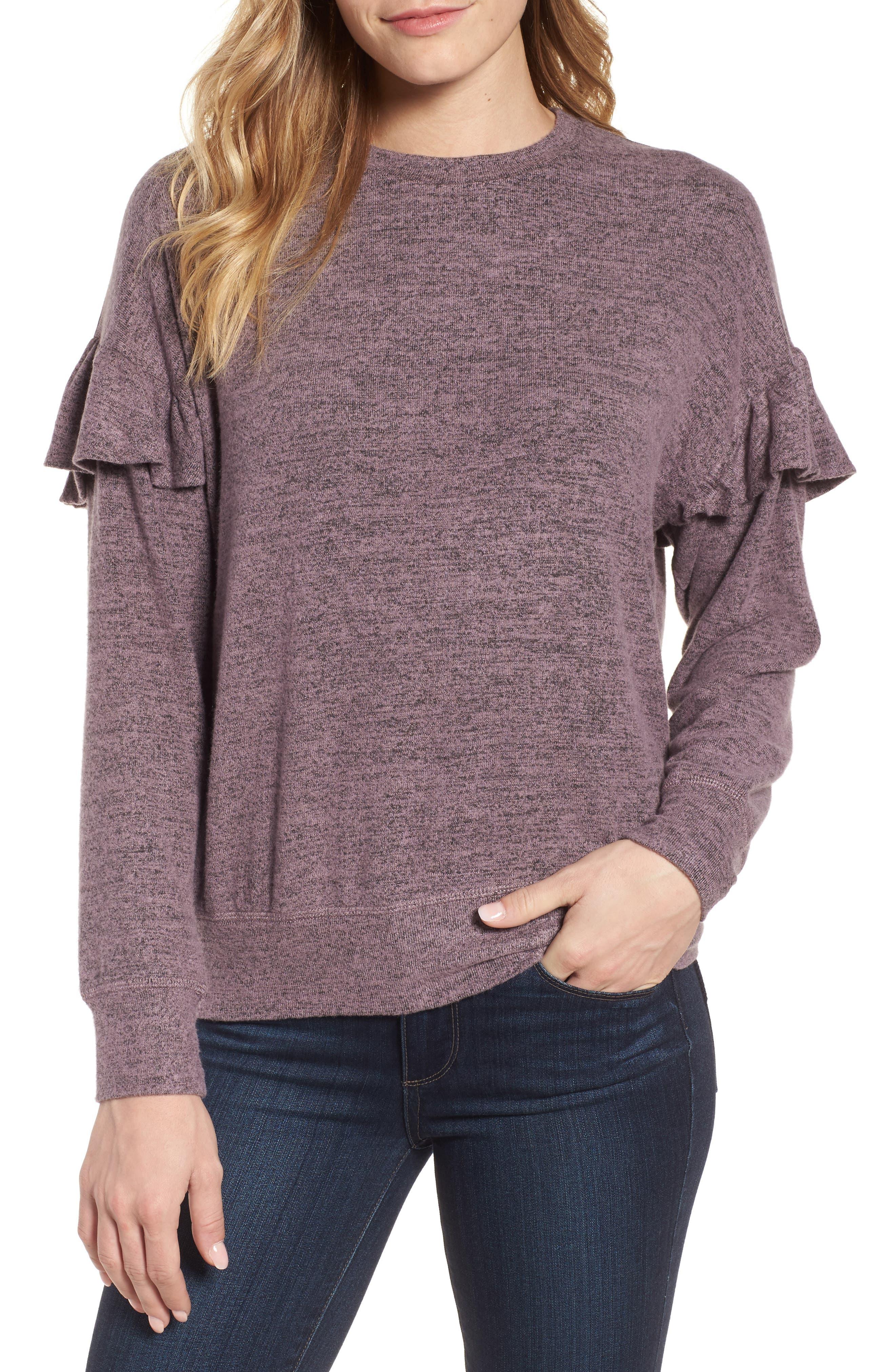 Bobeau Ruffle Sleeve Sweatshirt