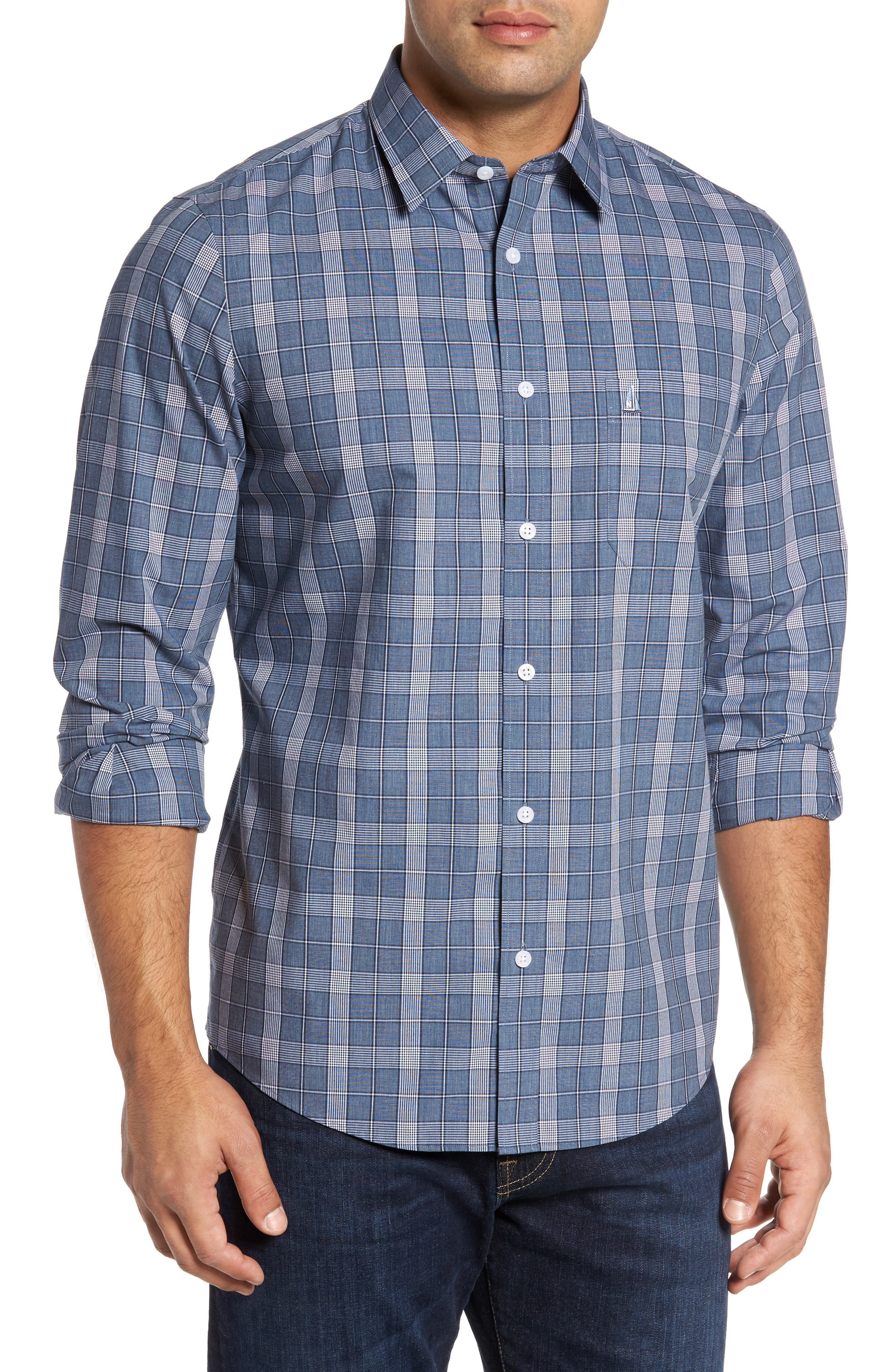 Alternate Image 1 Selected - Nordstrom Men's Shop Non-Iron Spade Plaid Sport Shirt