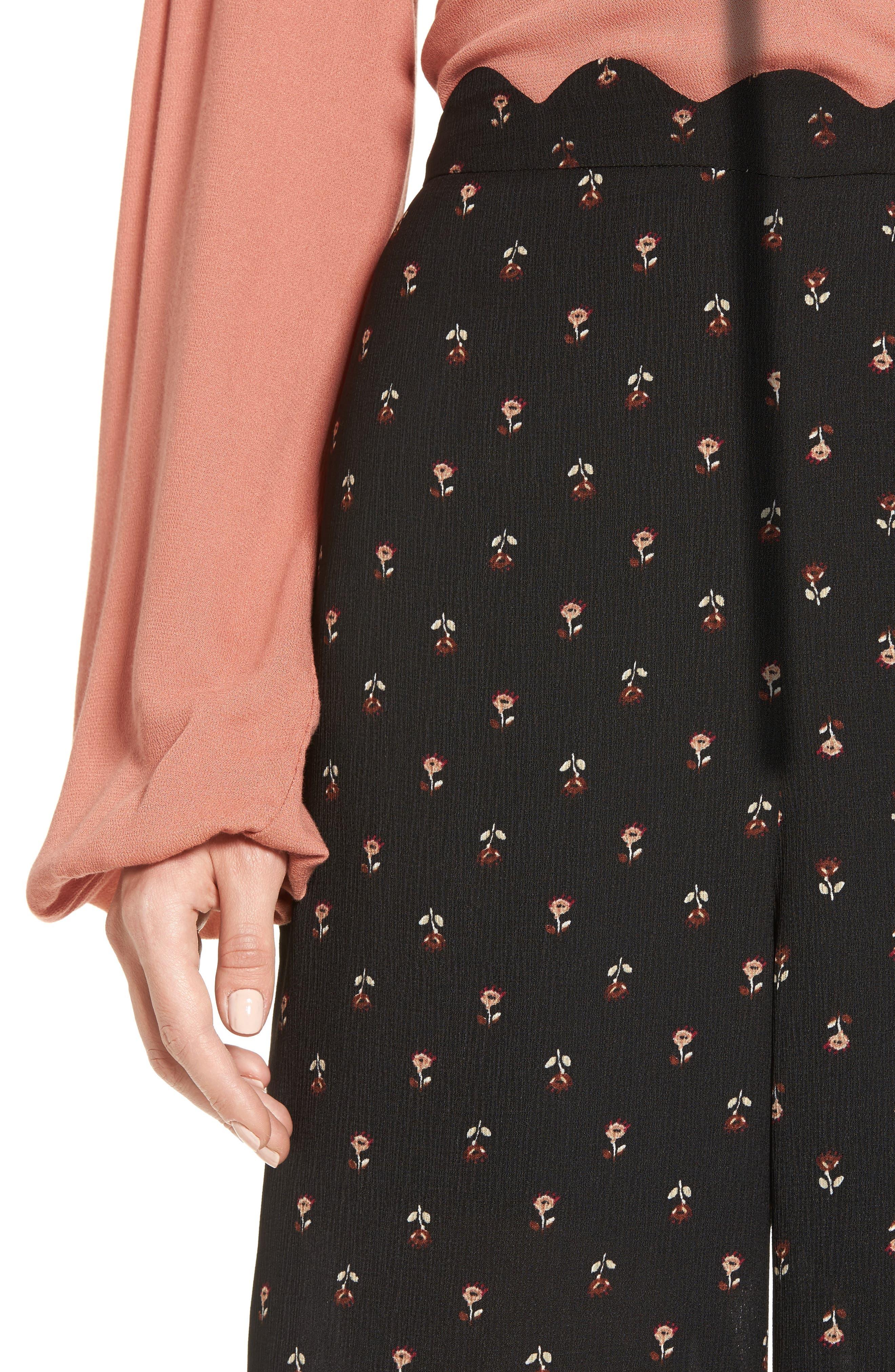 Scalloped Waist Wide Leg Crop Pants,                             Alternate thumbnail 4, color,                             Black Mini Floral