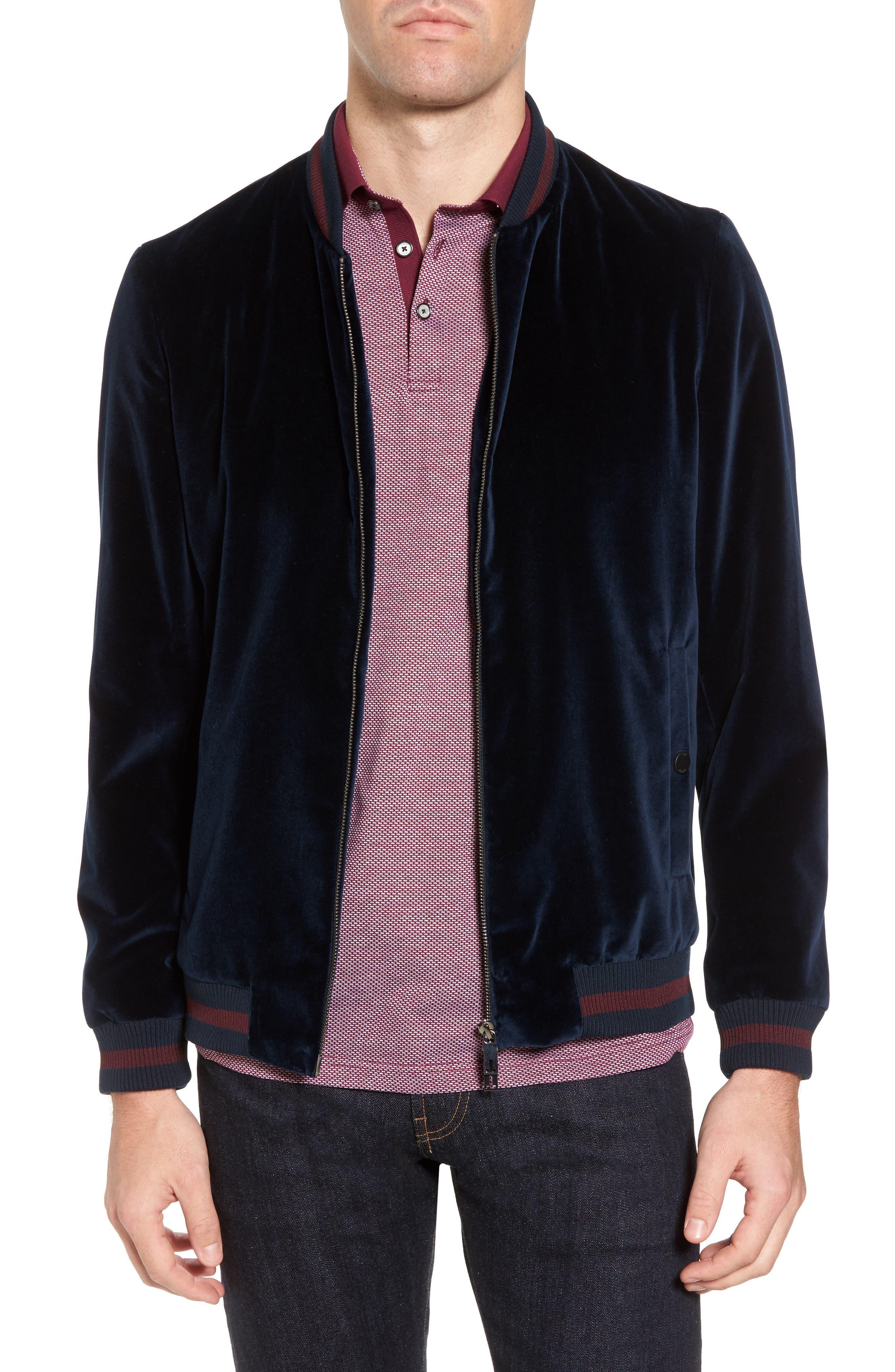 Haydon Velvet Bomber Jacket,                         Main,                         color, Teal