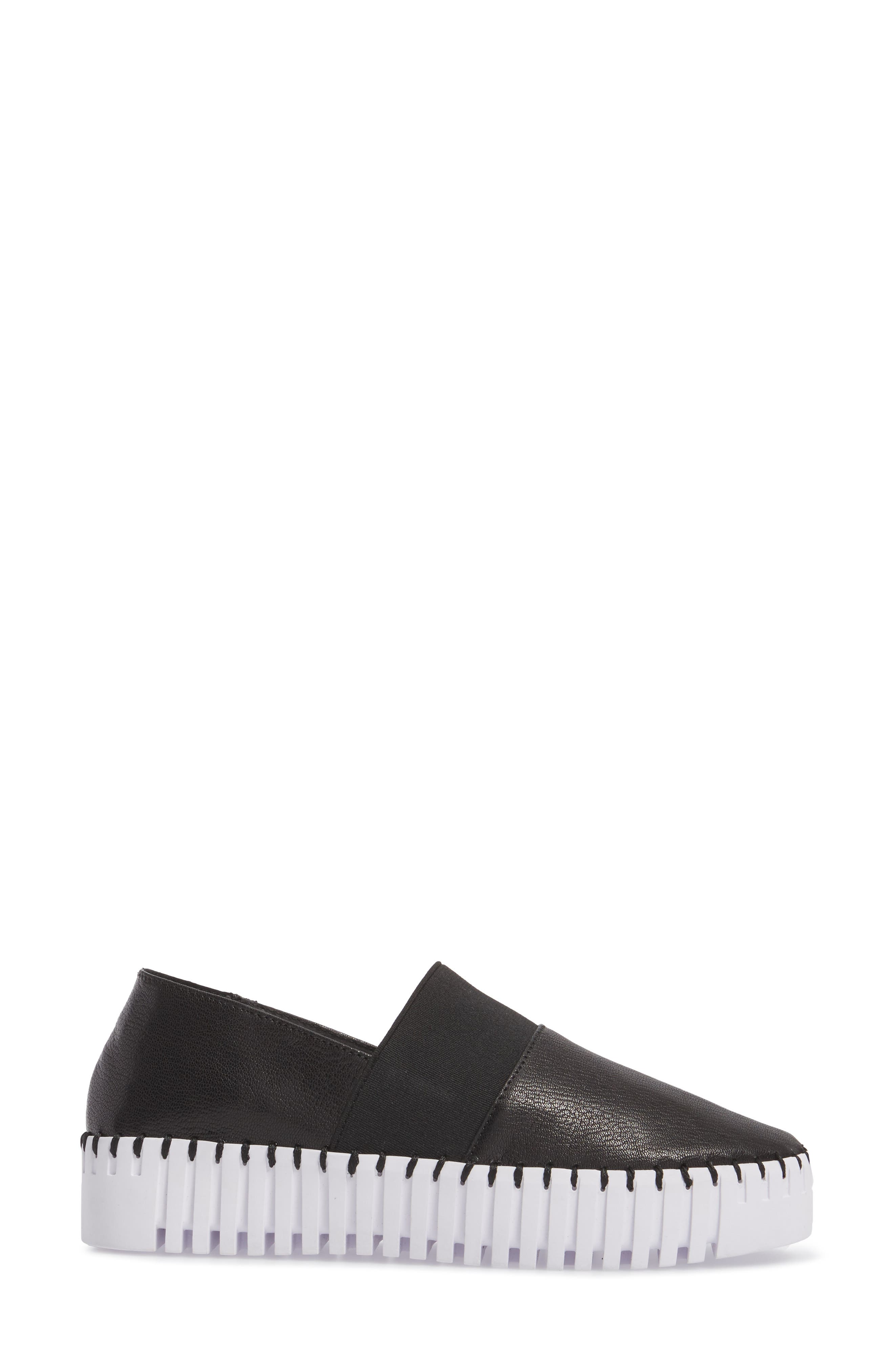 Cube Slip-On Platform Sneaker,                             Alternate thumbnail 3, color,                             Black Leather
