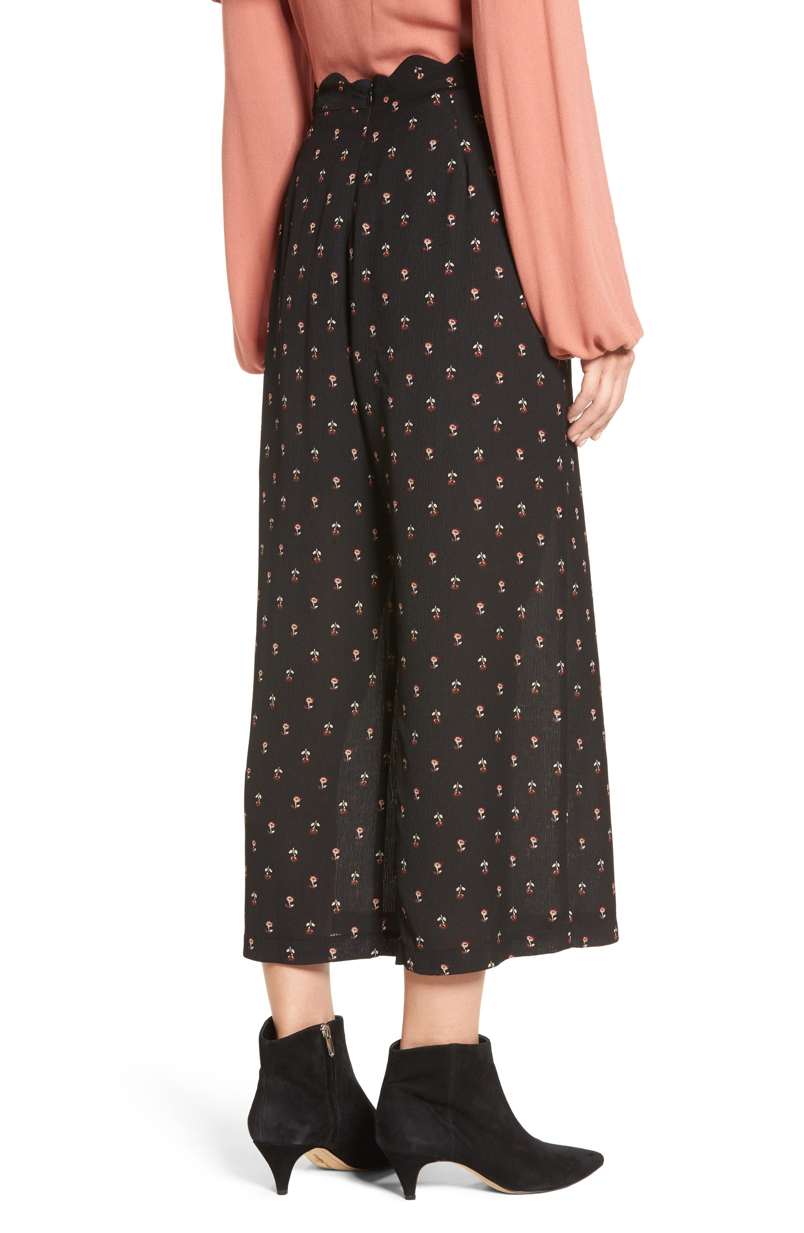 Scalloped Waist Wide Leg Crop Pants,                             Alternate thumbnail 2, color,                             Black Mini Floral