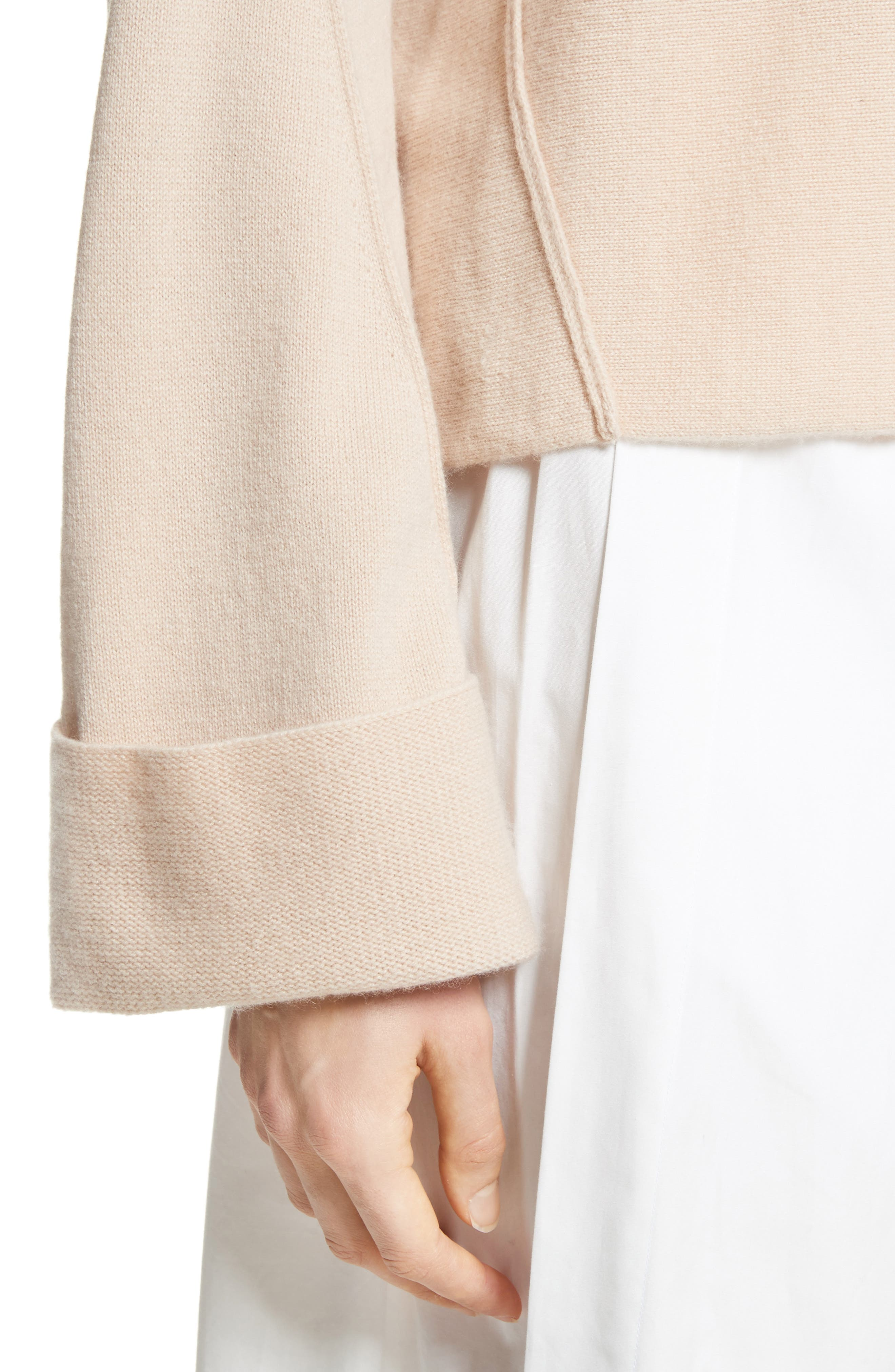 Cuffed Sleeve Wool & Cashmere Sweater,                             Alternate thumbnail 4, color,                             Praline