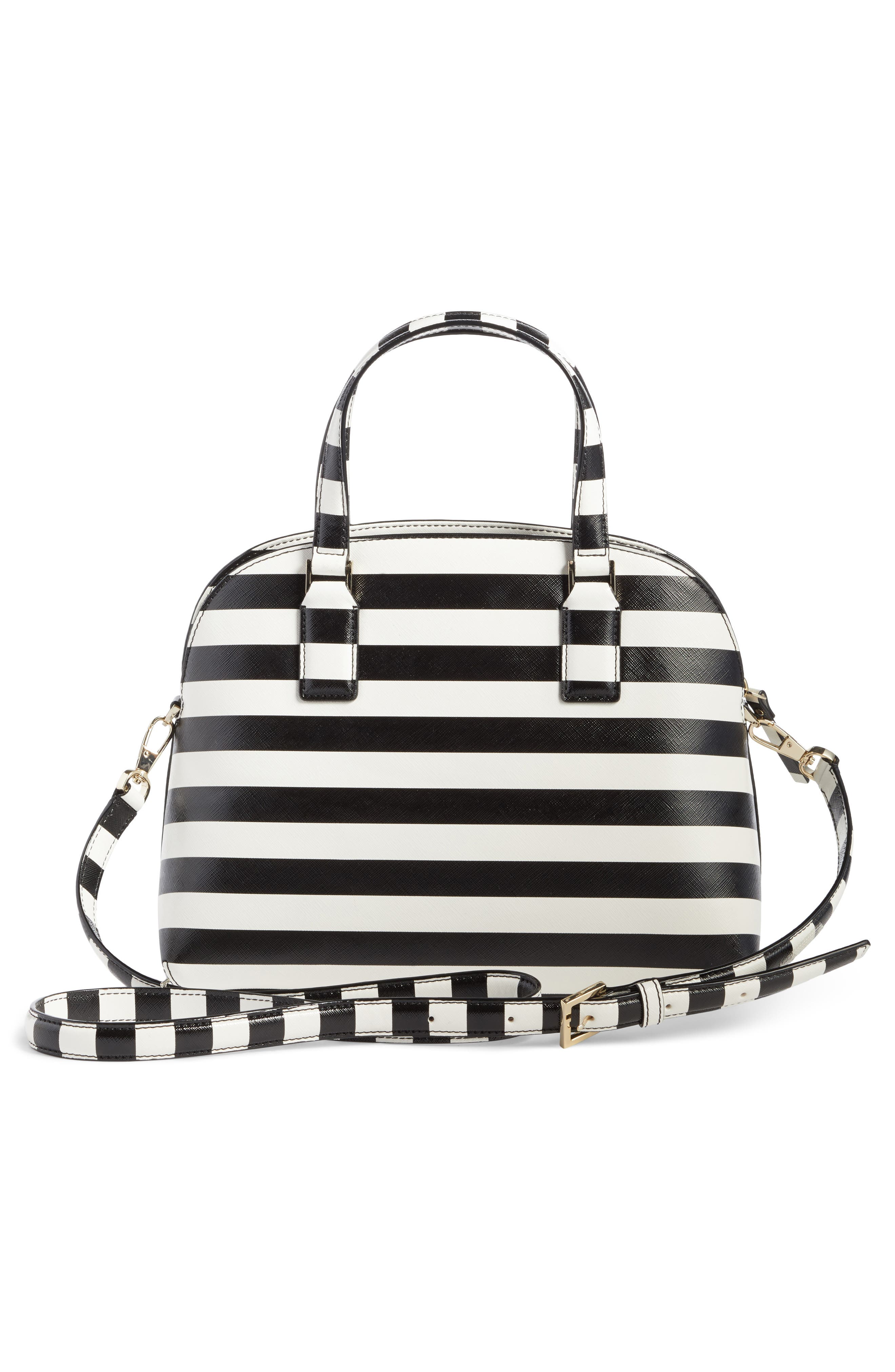 cameron street - lottie stripe satchel,                             Alternate thumbnail 3, color,                             Black/ Cream