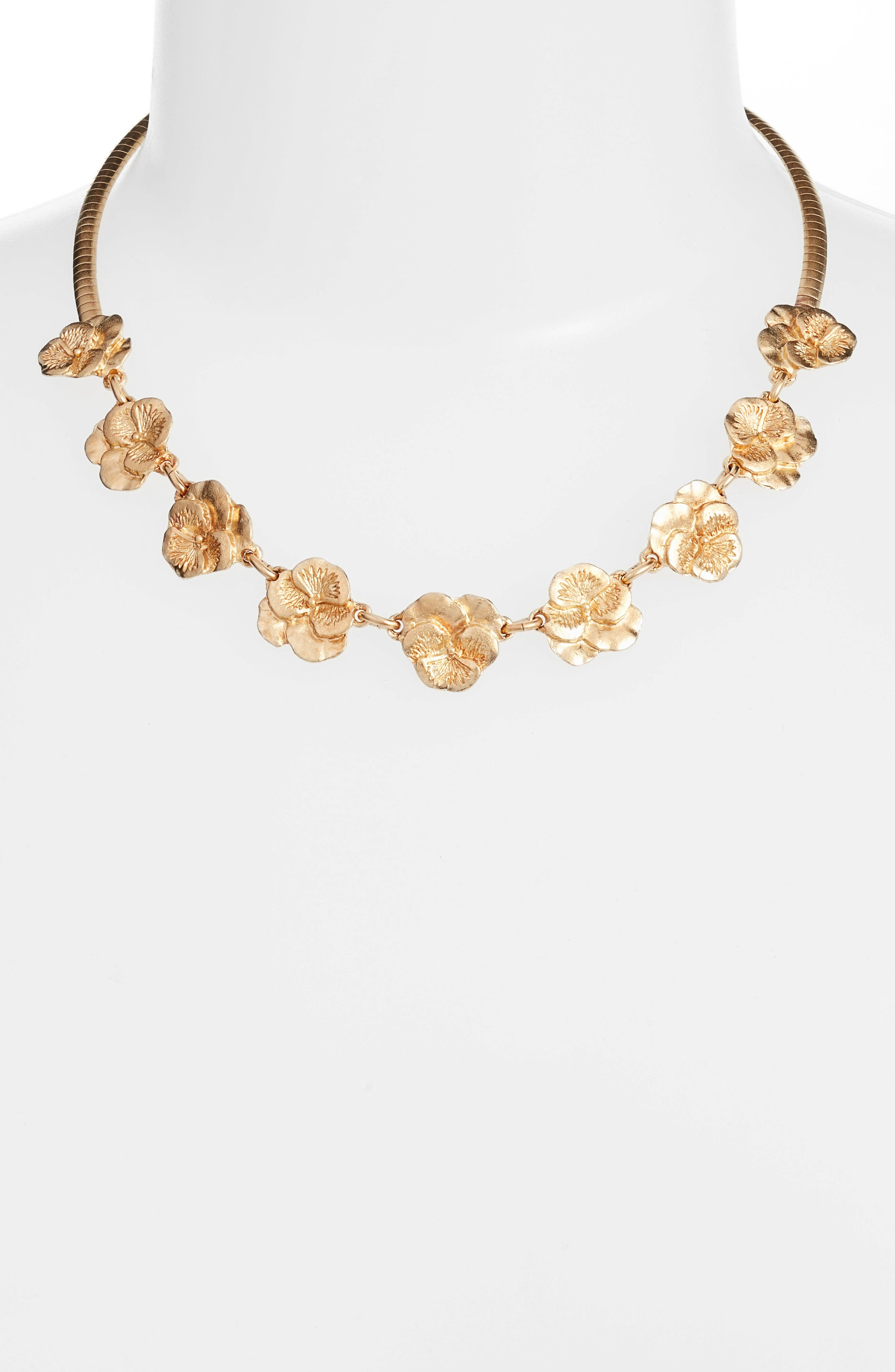 Pansy Frontal Necklace,                             Alternate thumbnail 2, color,                             Gold