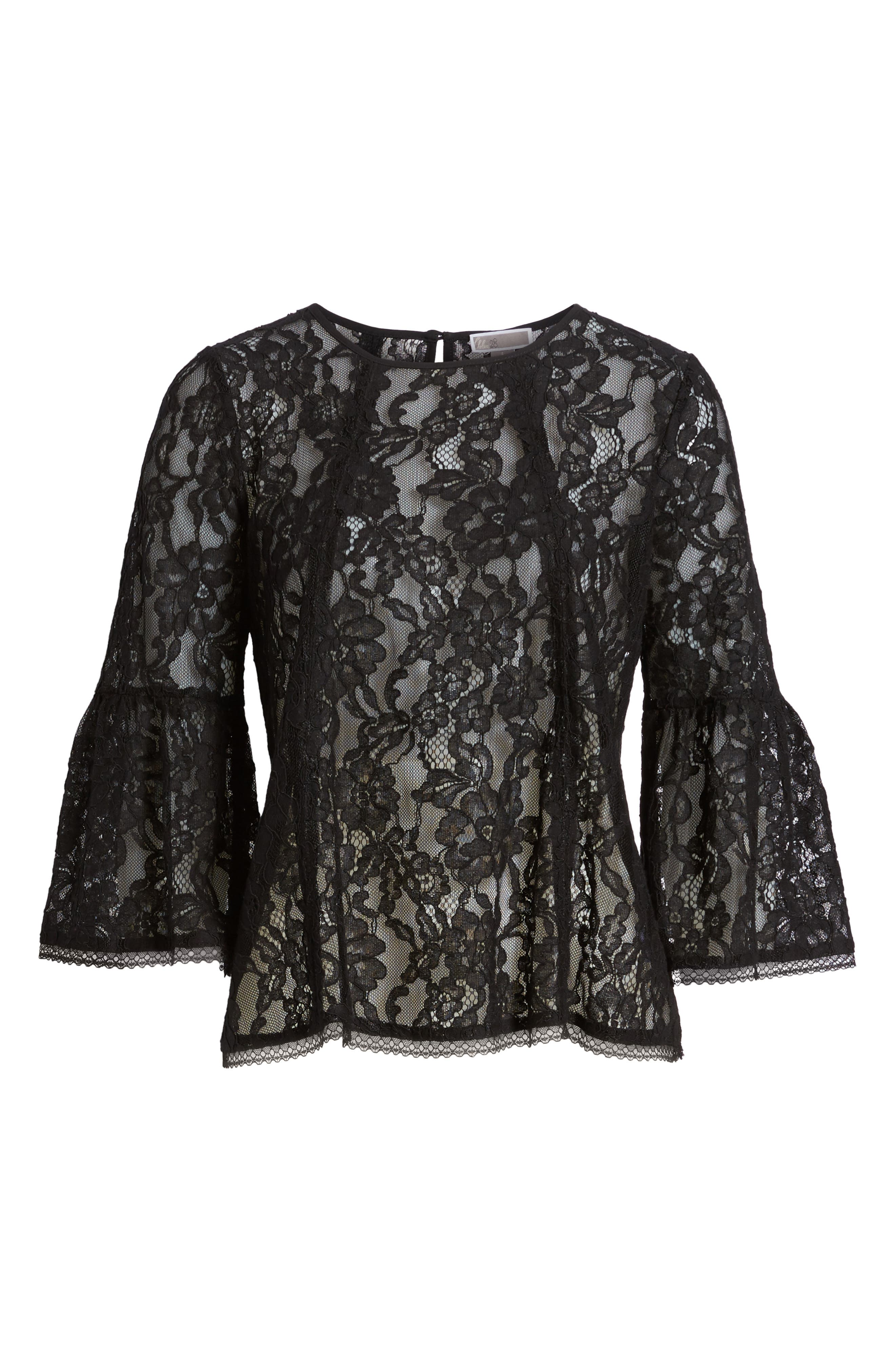 Bell Sleeve Lace Top,                             Alternate thumbnail 6, color,                             Black