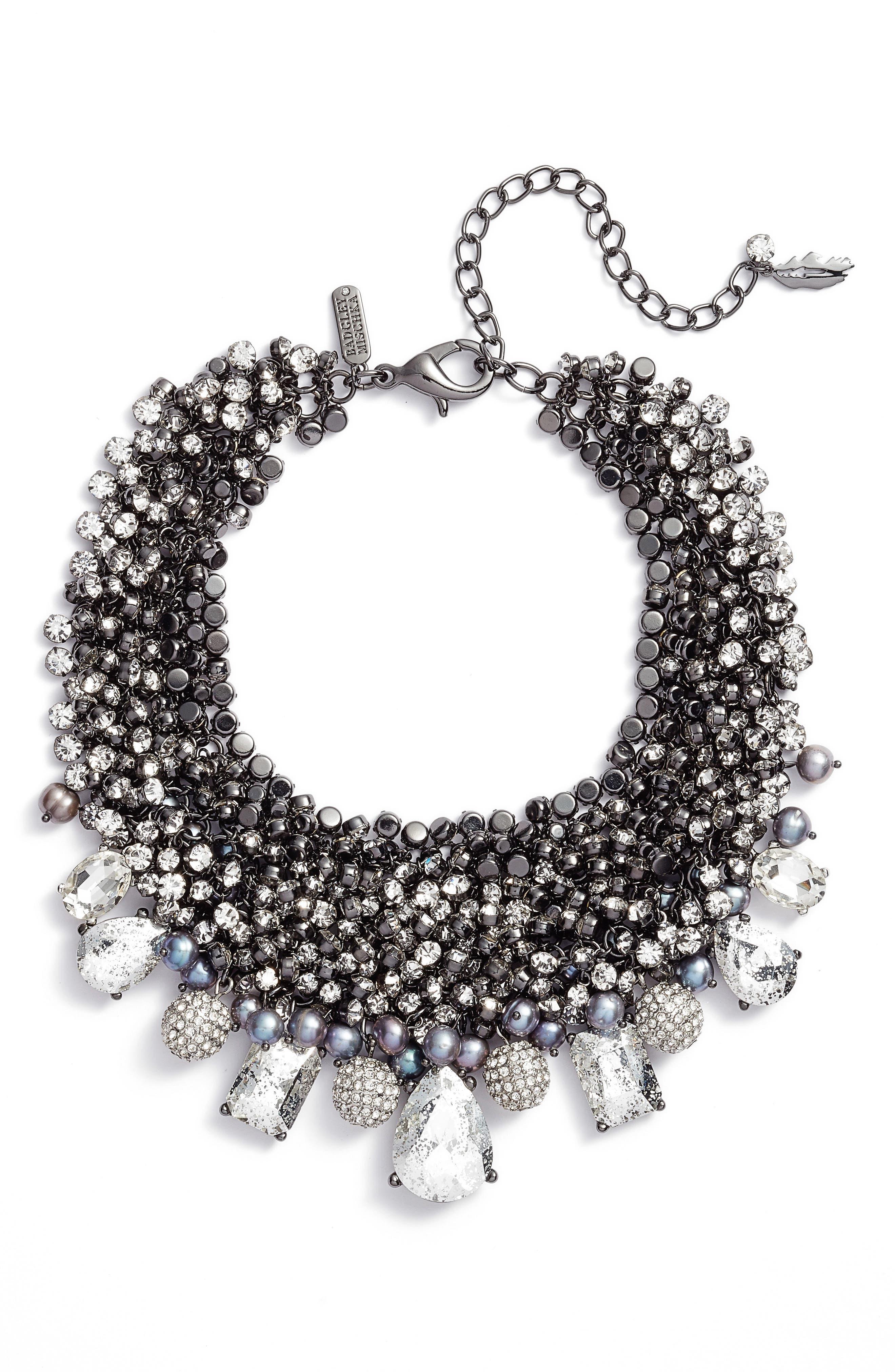 Badgley Mischka Crystal Cluster Necklace