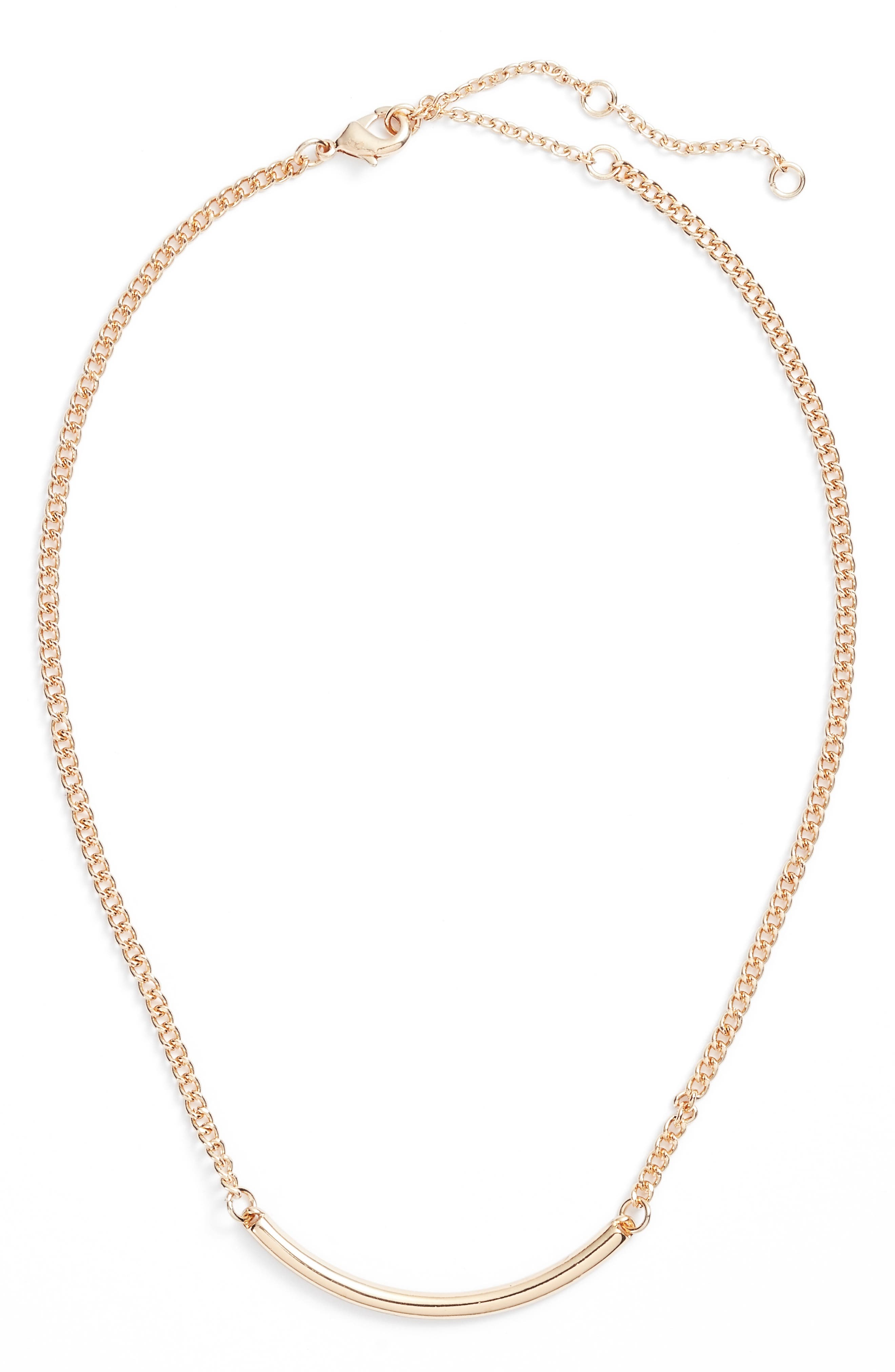 Dainty Chain Bar Necklace,                             Main thumbnail 1, color,                             Gold