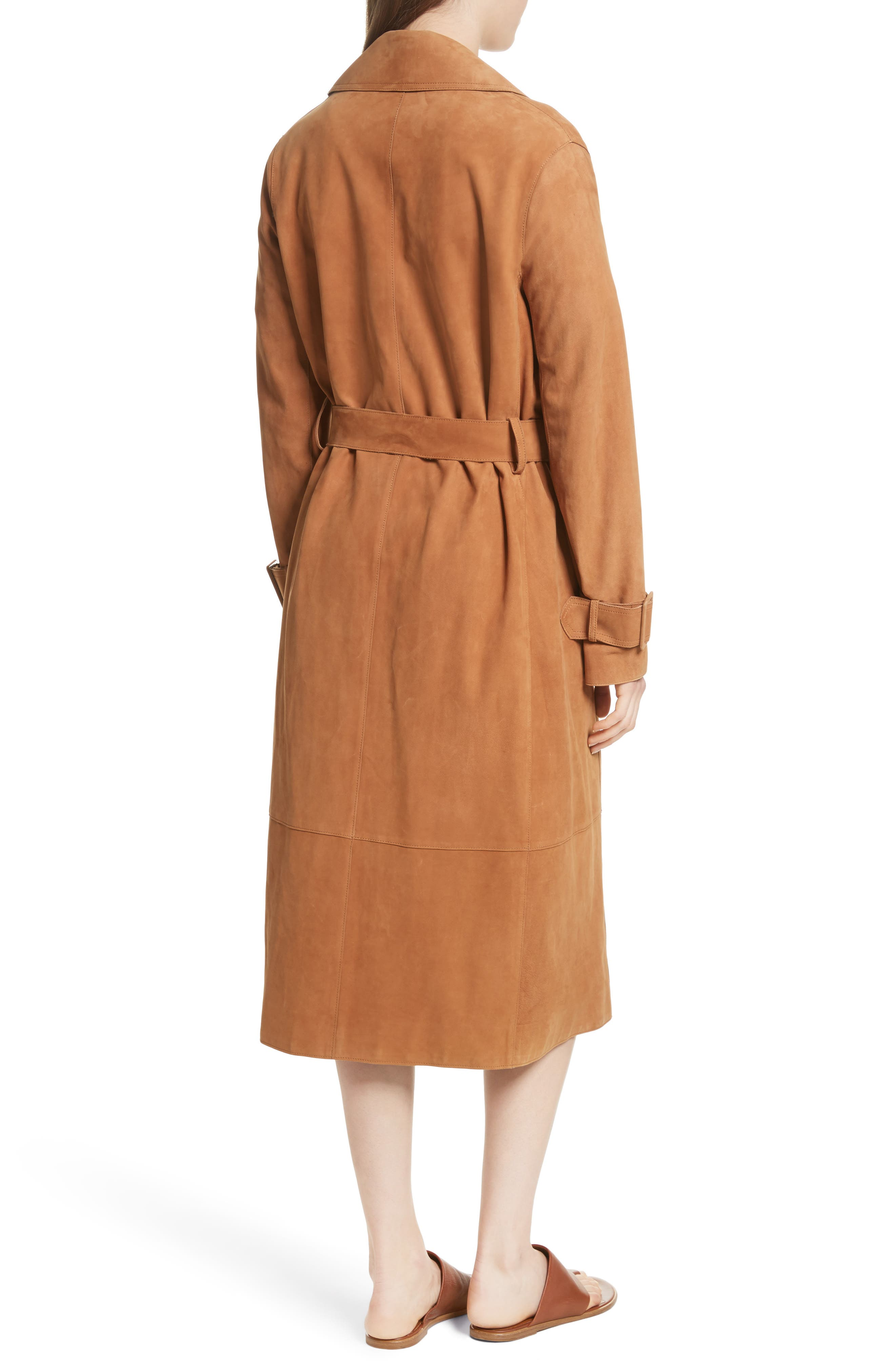 Suede Trench Coat,                             Alternate thumbnail 2, color,                             Deep Saddle