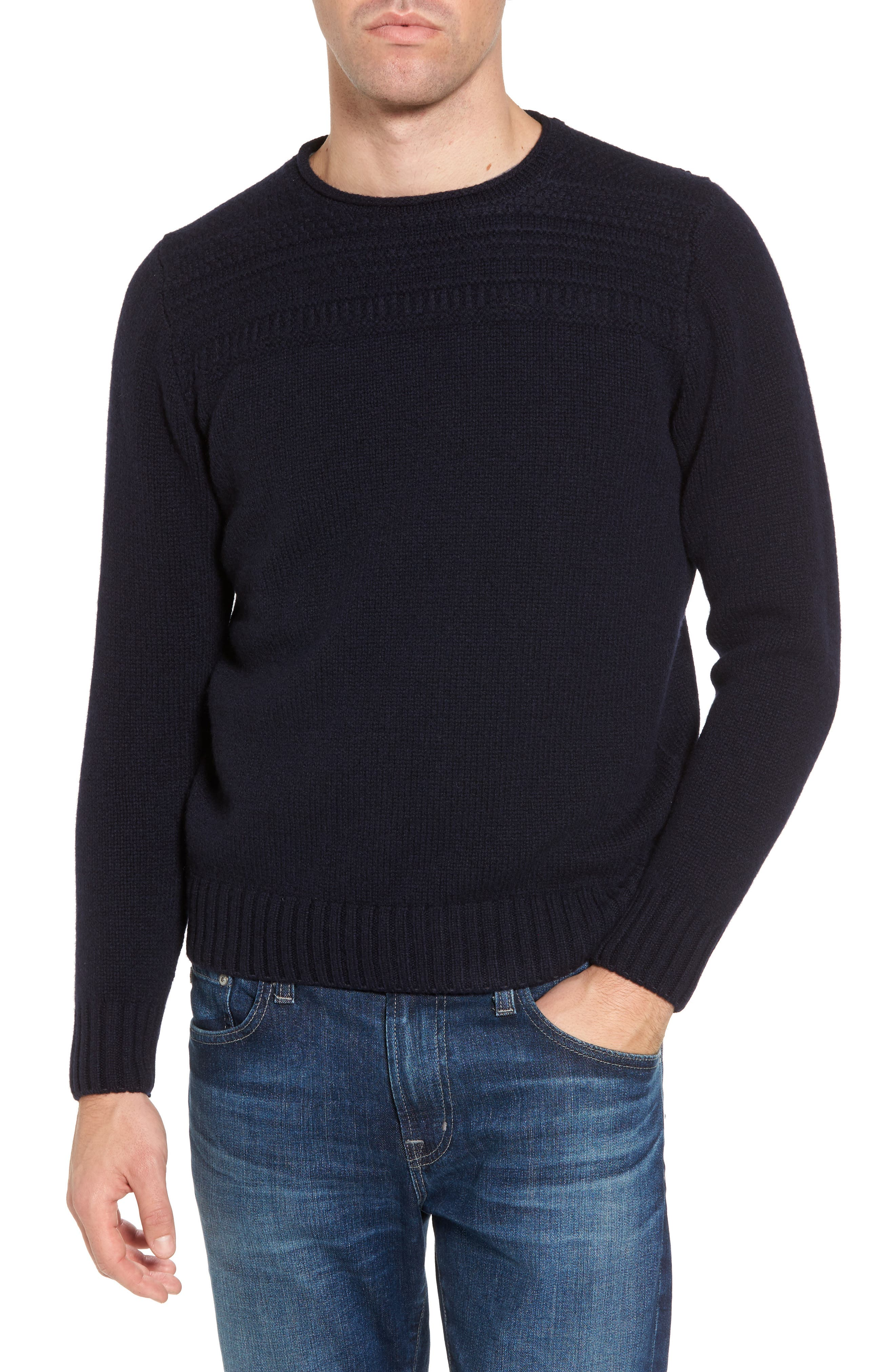 Roll Neck Wool Sweater,                         Main,                         color, Navy