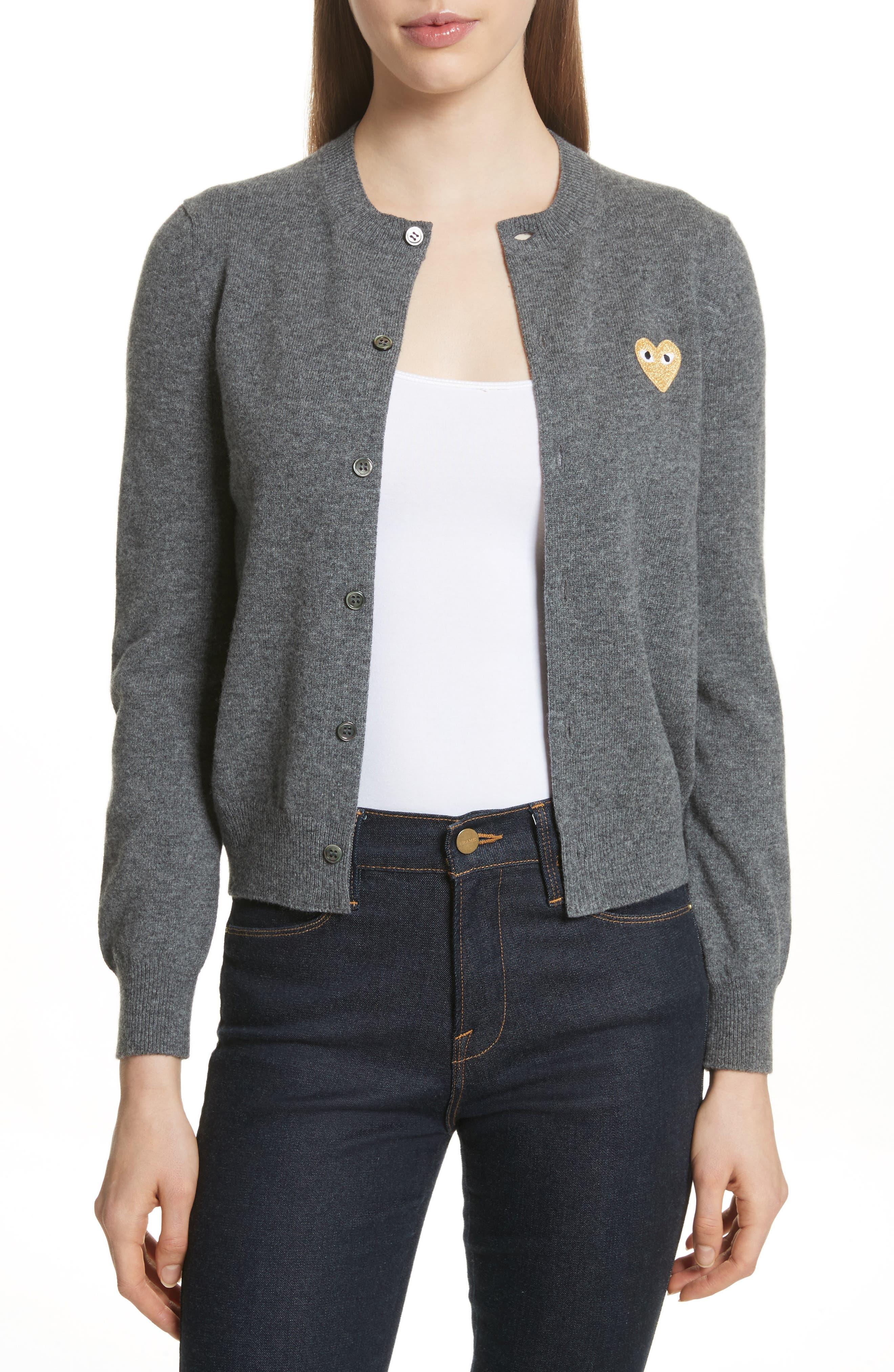 Comme des Garçons PLAY Wool Cardigan,                         Main,                         color, Grey