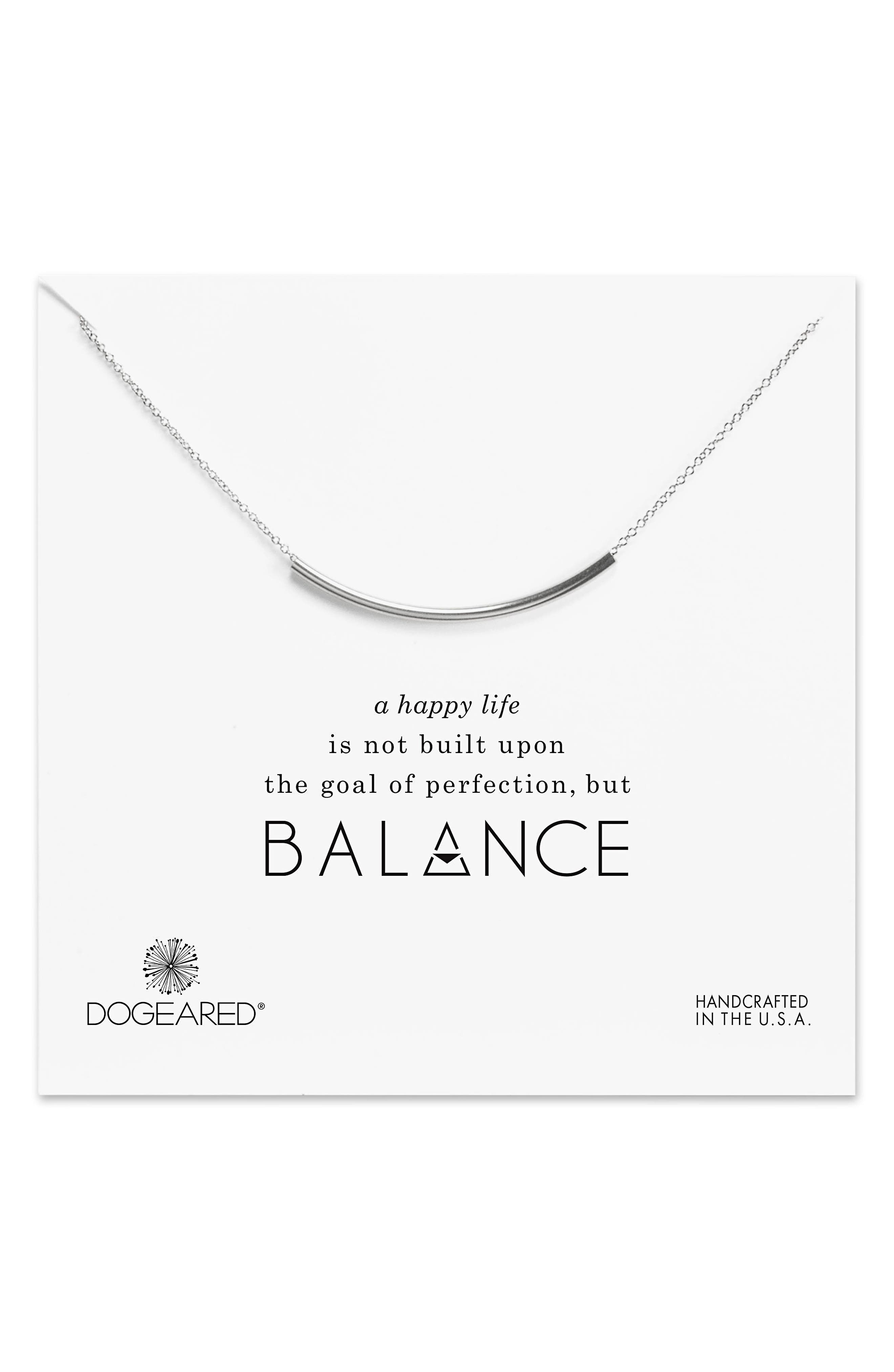 Balance Tube Chain Necklace,                         Main,                         color, Silver