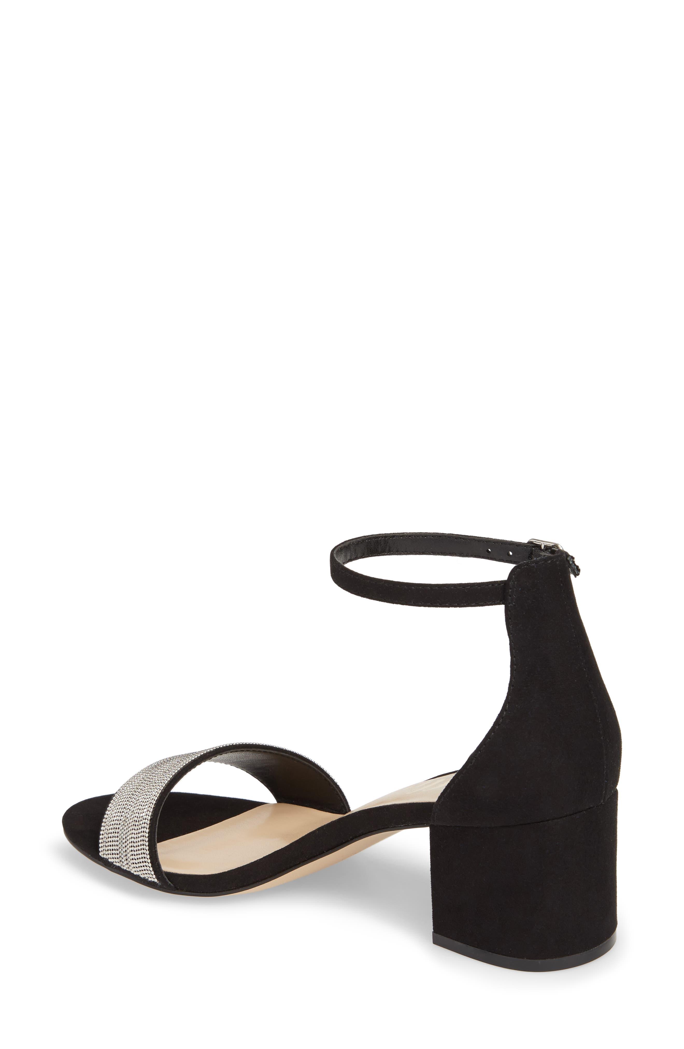 Jazmine Ankle Strap Sandal,                             Alternate thumbnail 2, color,                             Black Suede