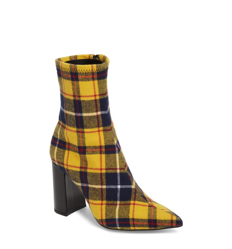 Siren Bootie,                         Main,                         color, Yellow Plaid