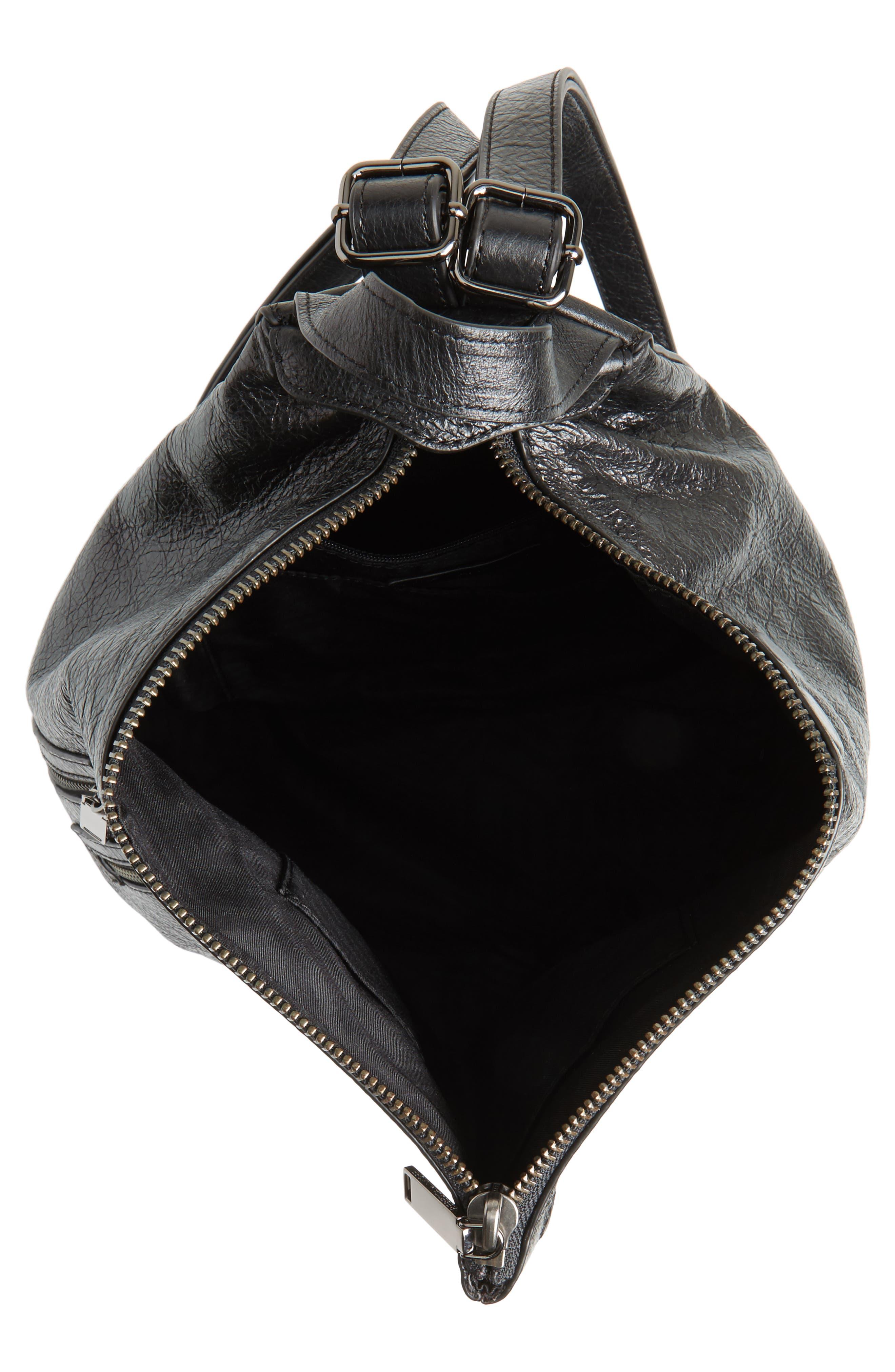 Jamie Leather Backpack,                             Alternate thumbnail 4, color,                             Black