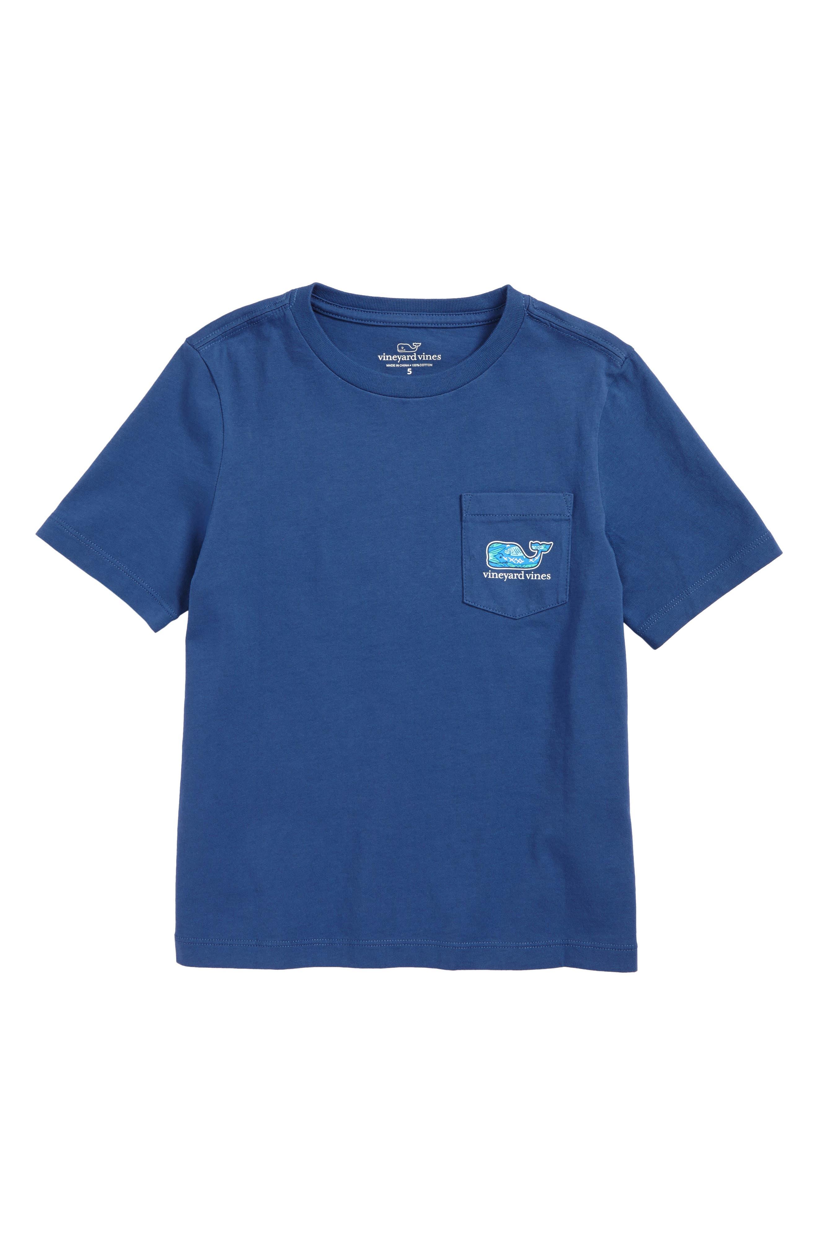 Fish Scales Whale Pocket T-Shirt,                             Main thumbnail 1, color,                             Moonshine