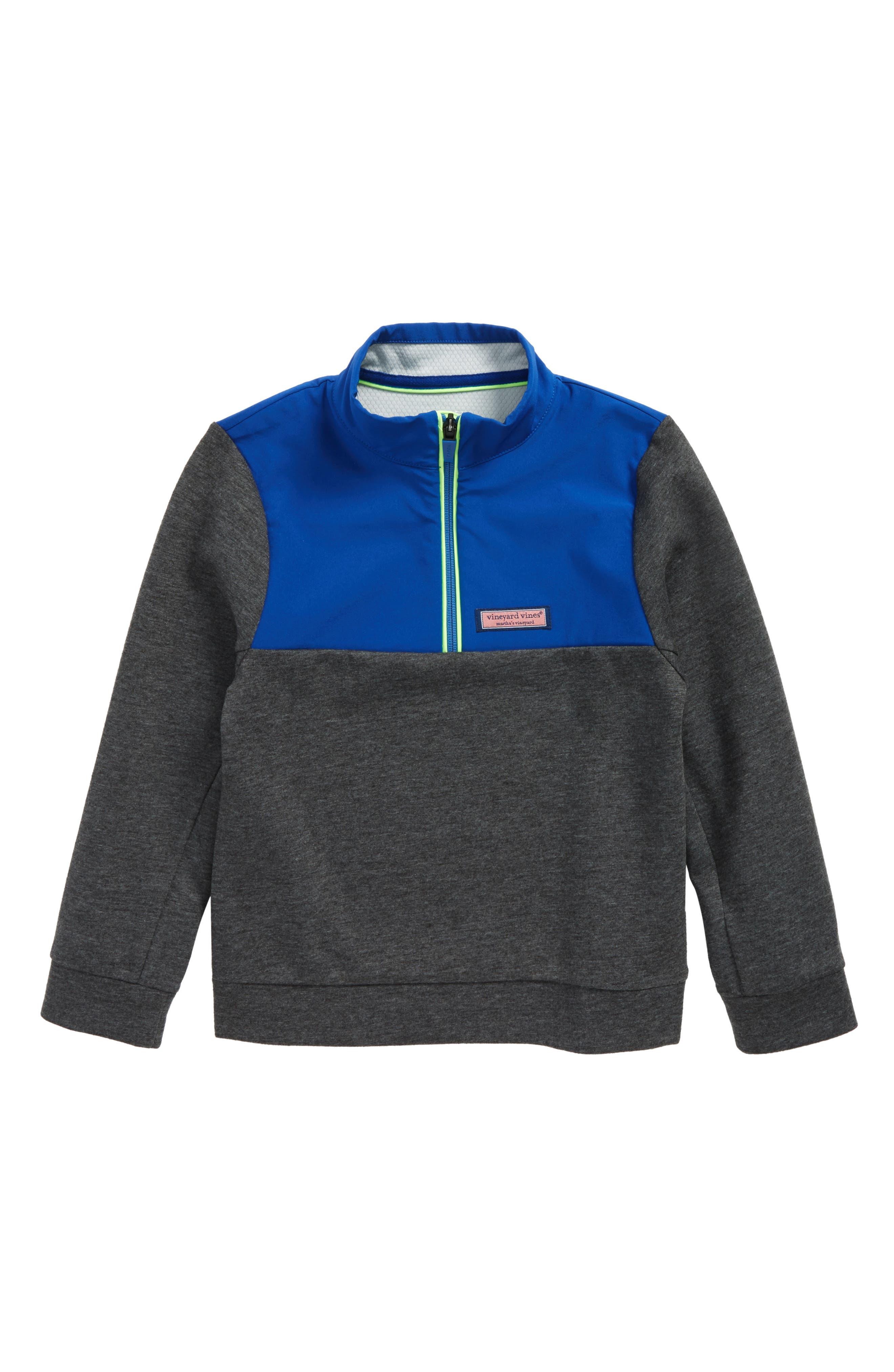 Shep Colorblock Quarter Zip Pullover,                             Main thumbnail 1, color,                             Charcoal