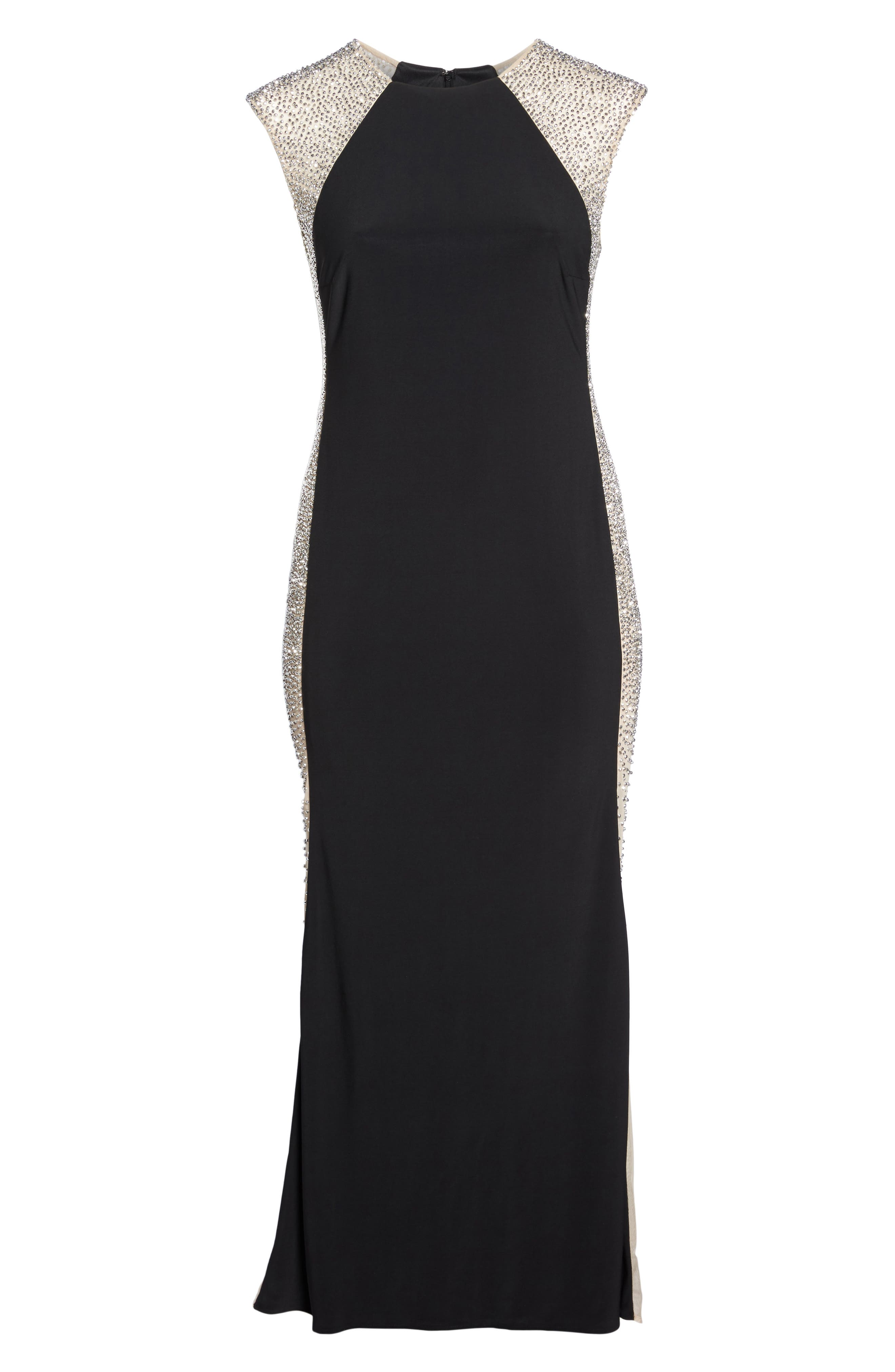 Beaded High Neck Column Gown,                             Alternate thumbnail 7, color,                             Black/ Nude/ Silver