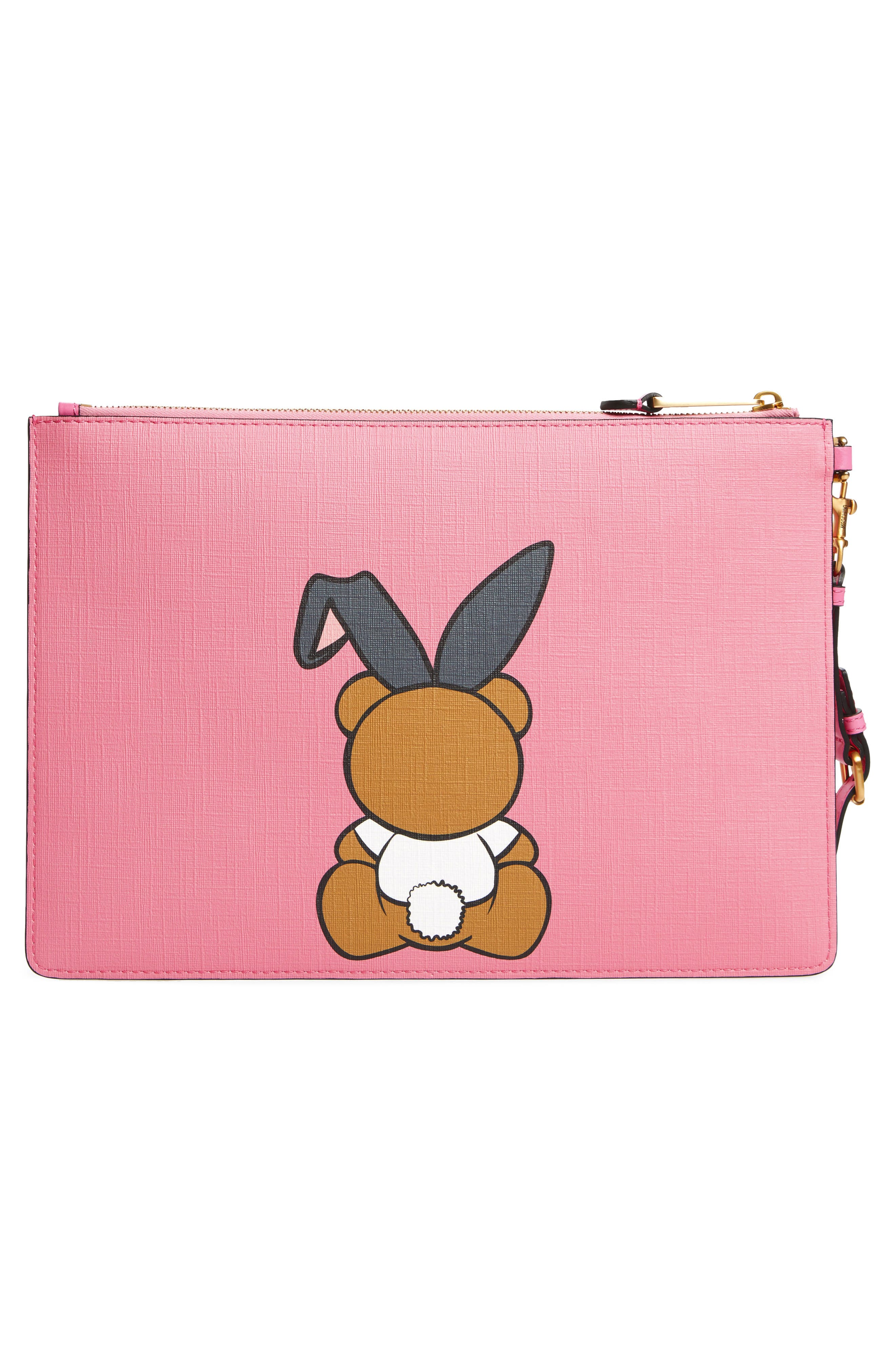 Alternate Image 3  - Moschino x Playboy Bunny Bear Leather Pouch