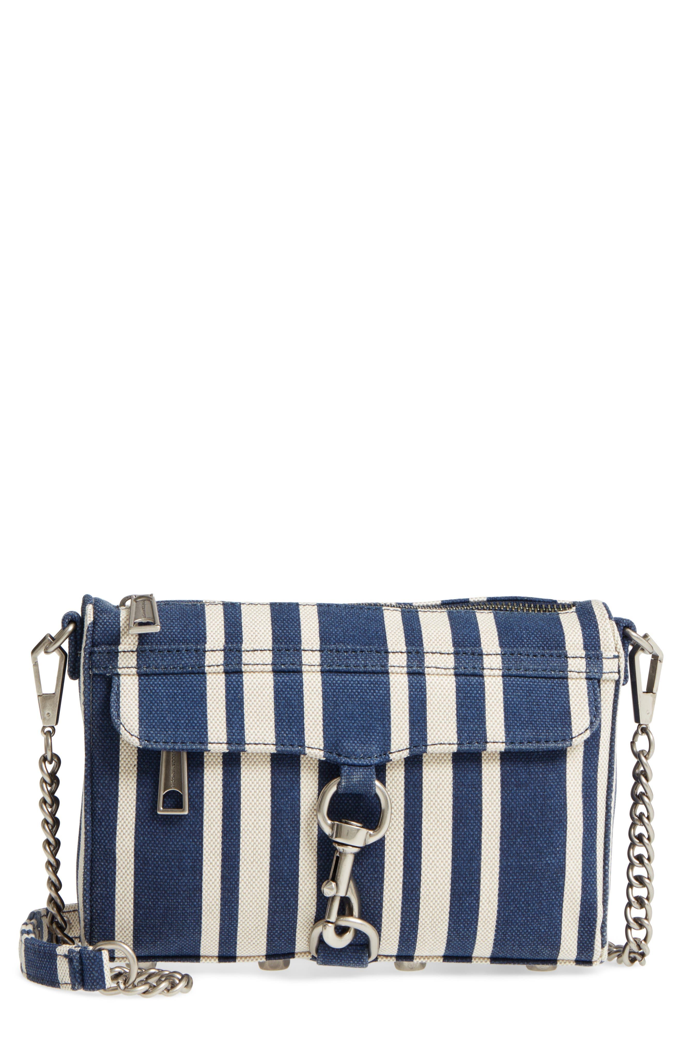 Mini MAC Stripe Canvas Convertible Crossbody Bag,                         Main,                         color, Navy Stripe