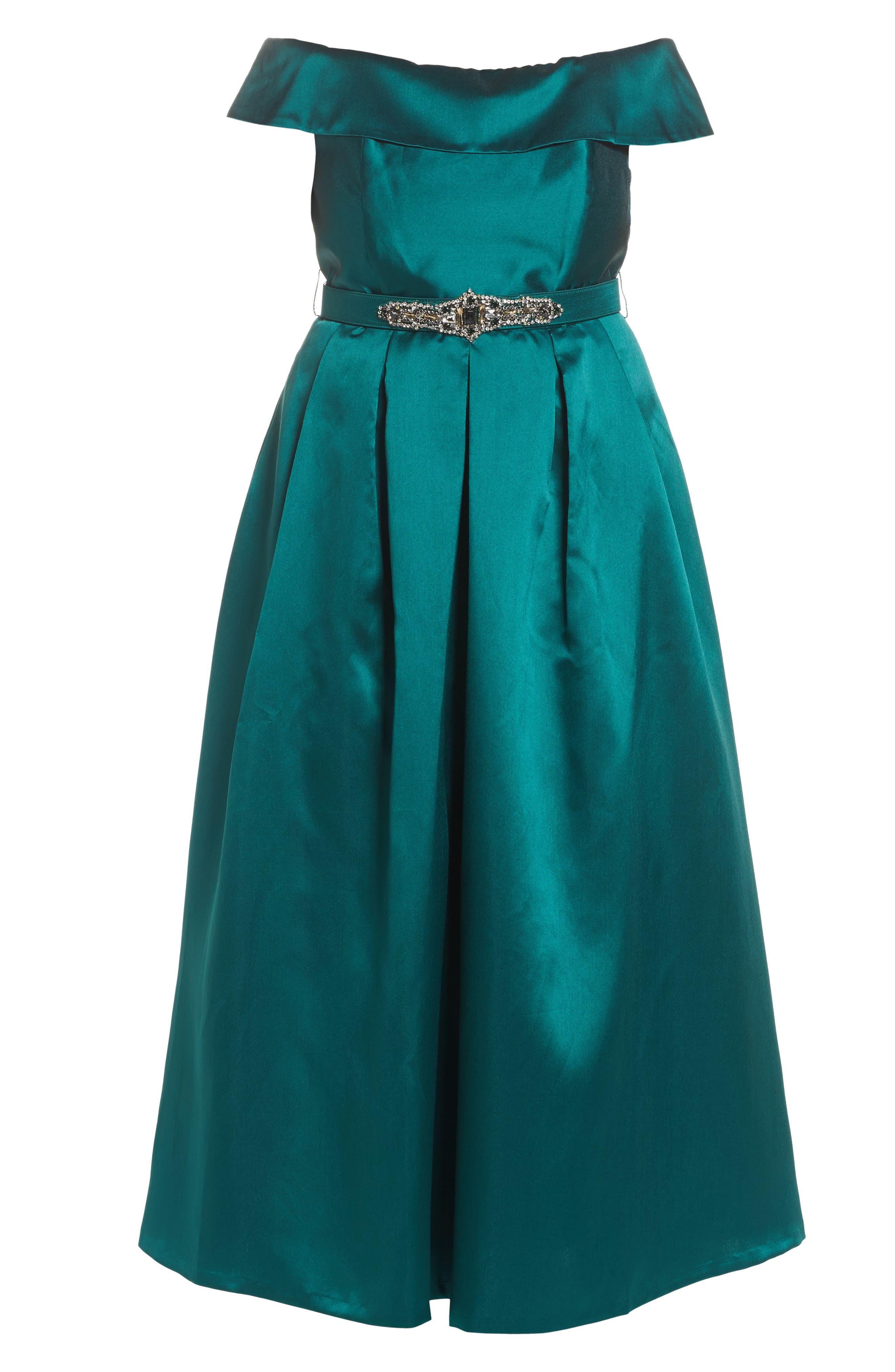 Off the Shoulder Ballgown,                             Alternate thumbnail 6, color,                             Emerald