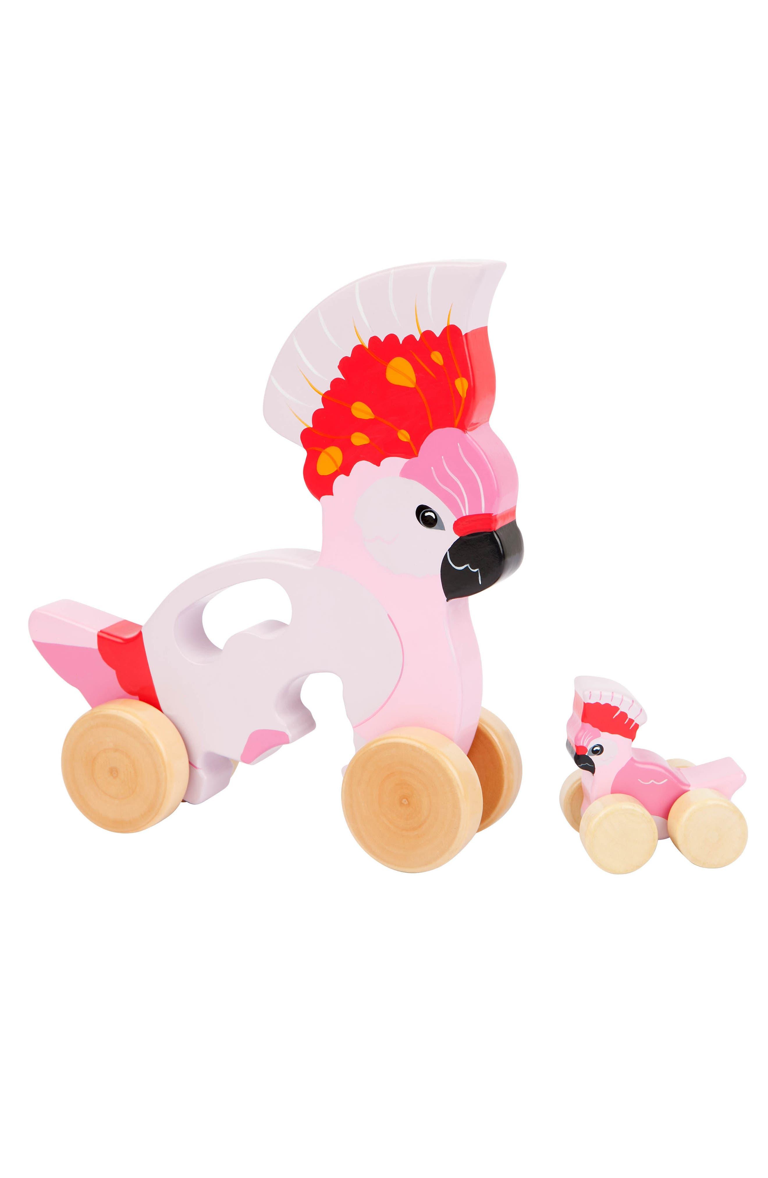 Set of 2 Medium Wheeled Nesting Birds Wooden Toys,                             Alternate thumbnail 2, color,                             Pink
