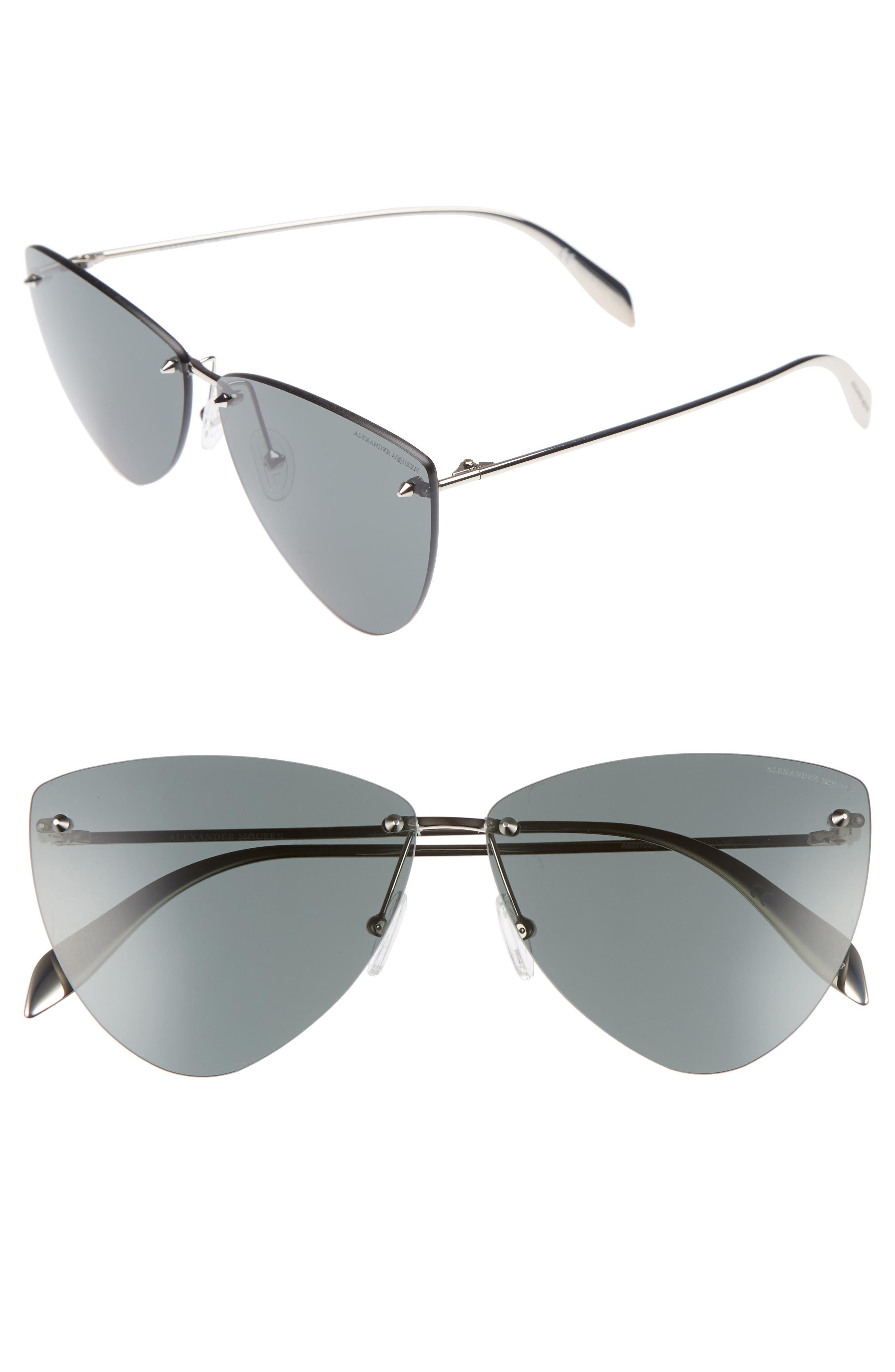 63mm Oversize Rimless Sunglasses,                             Main thumbnail 1, color,                             Silver