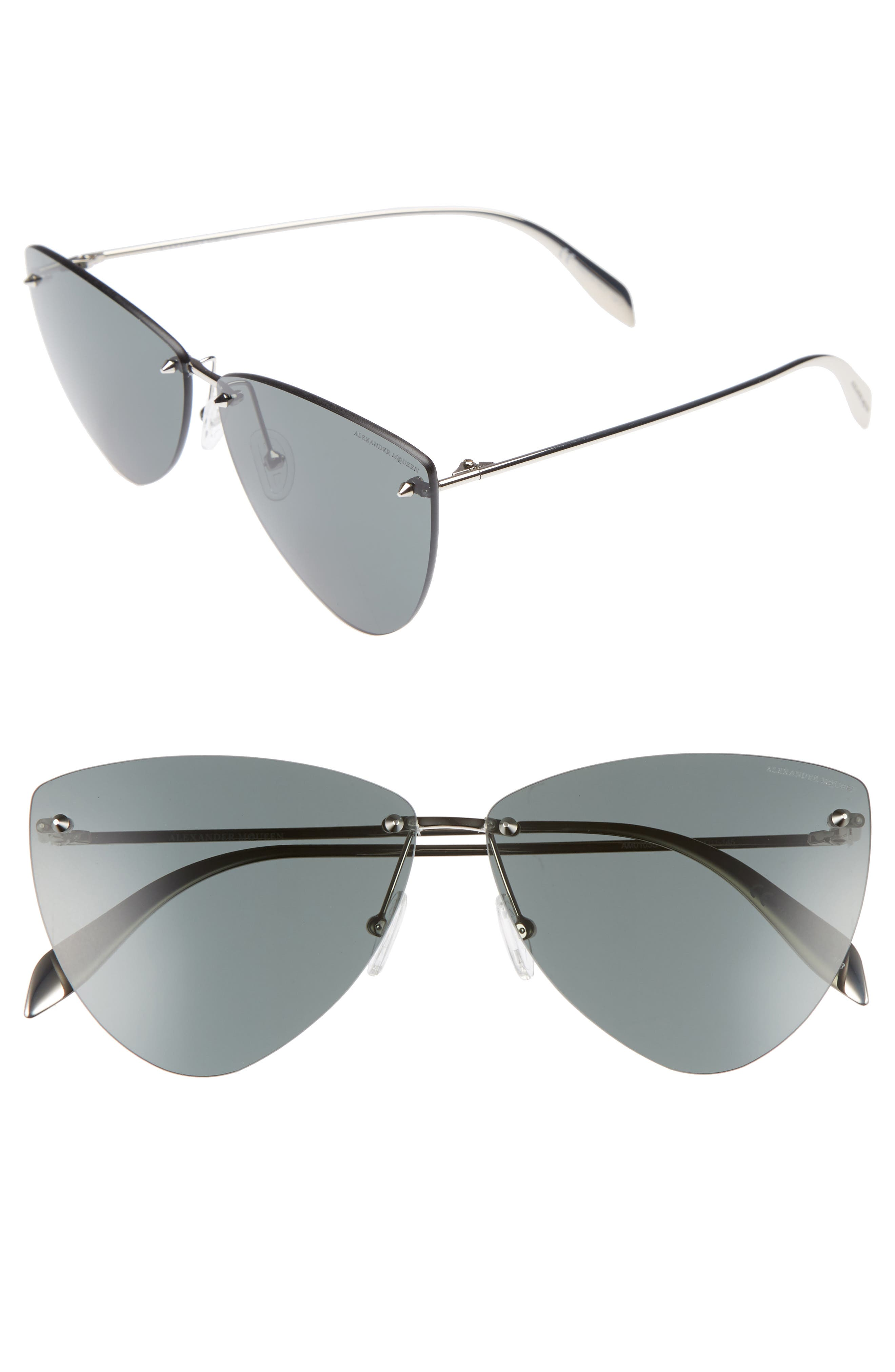 63mm Oversize Rimless Sunglasses,                         Main,                         color, Silver