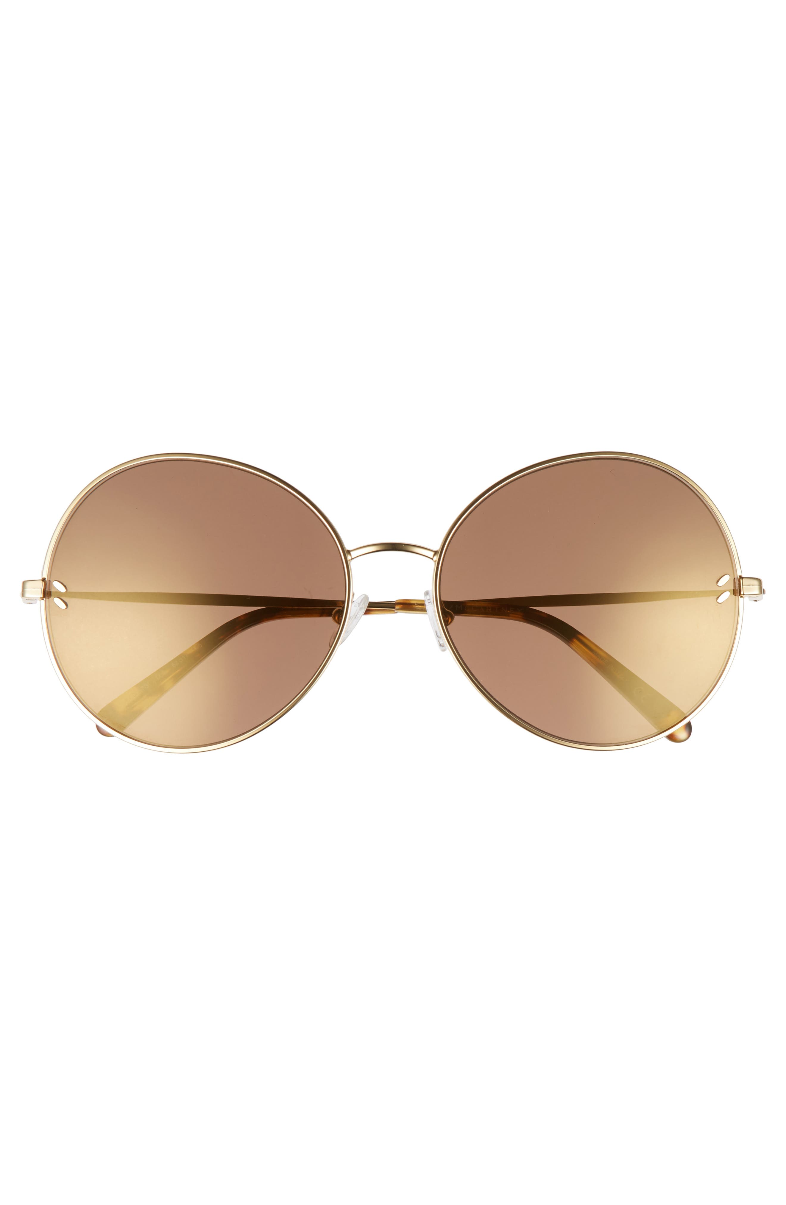 62mm Round Sunglasses,                             Alternate thumbnail 3, color,                             Gold/ Brown