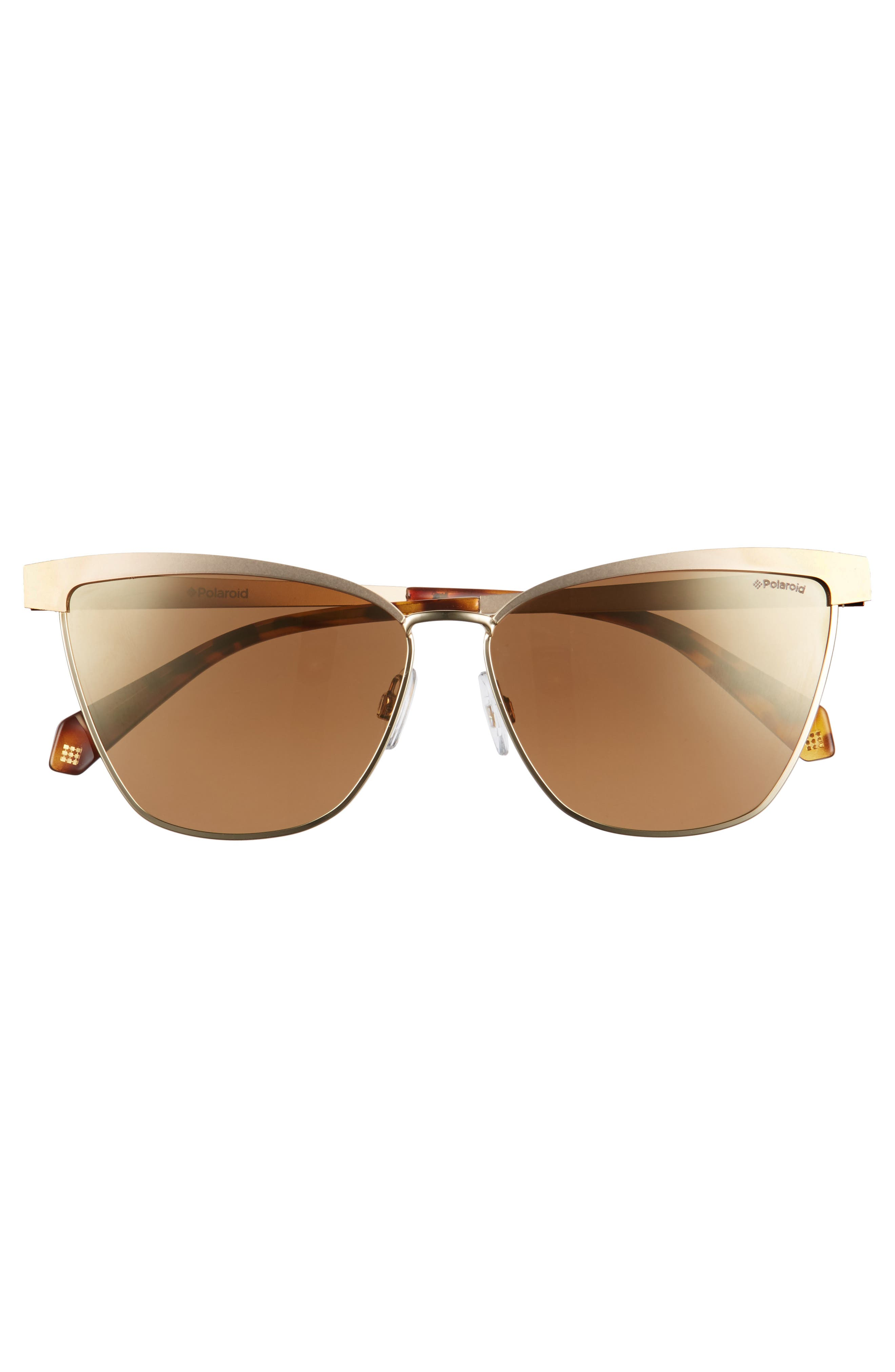 60mm Polarized Cat Eye Sunglasses,                             Alternate thumbnail 3, color,                             Gold