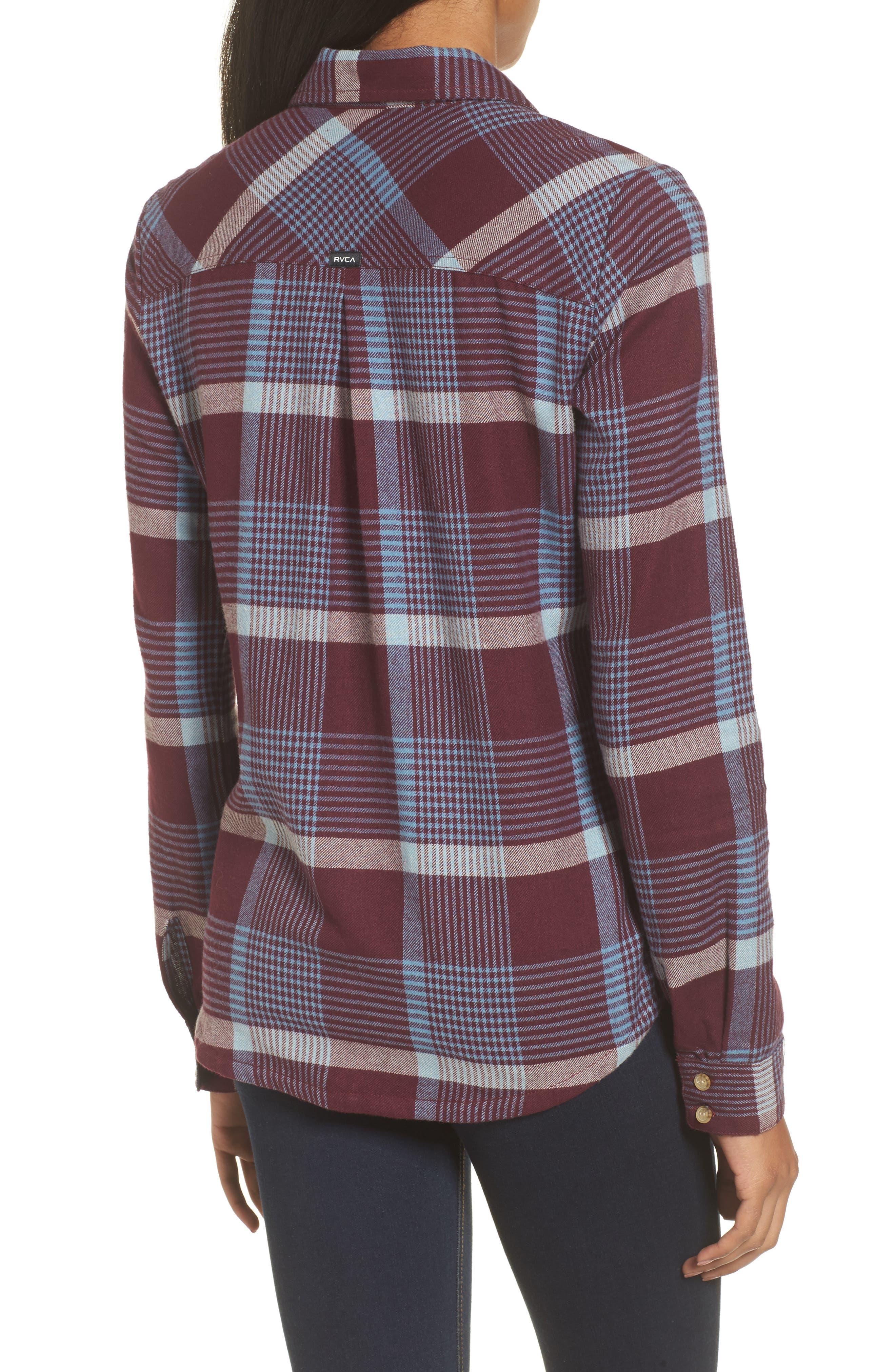 Plaid Flannel Shirt,                             Alternate thumbnail 2, color,                             Wine Tasting