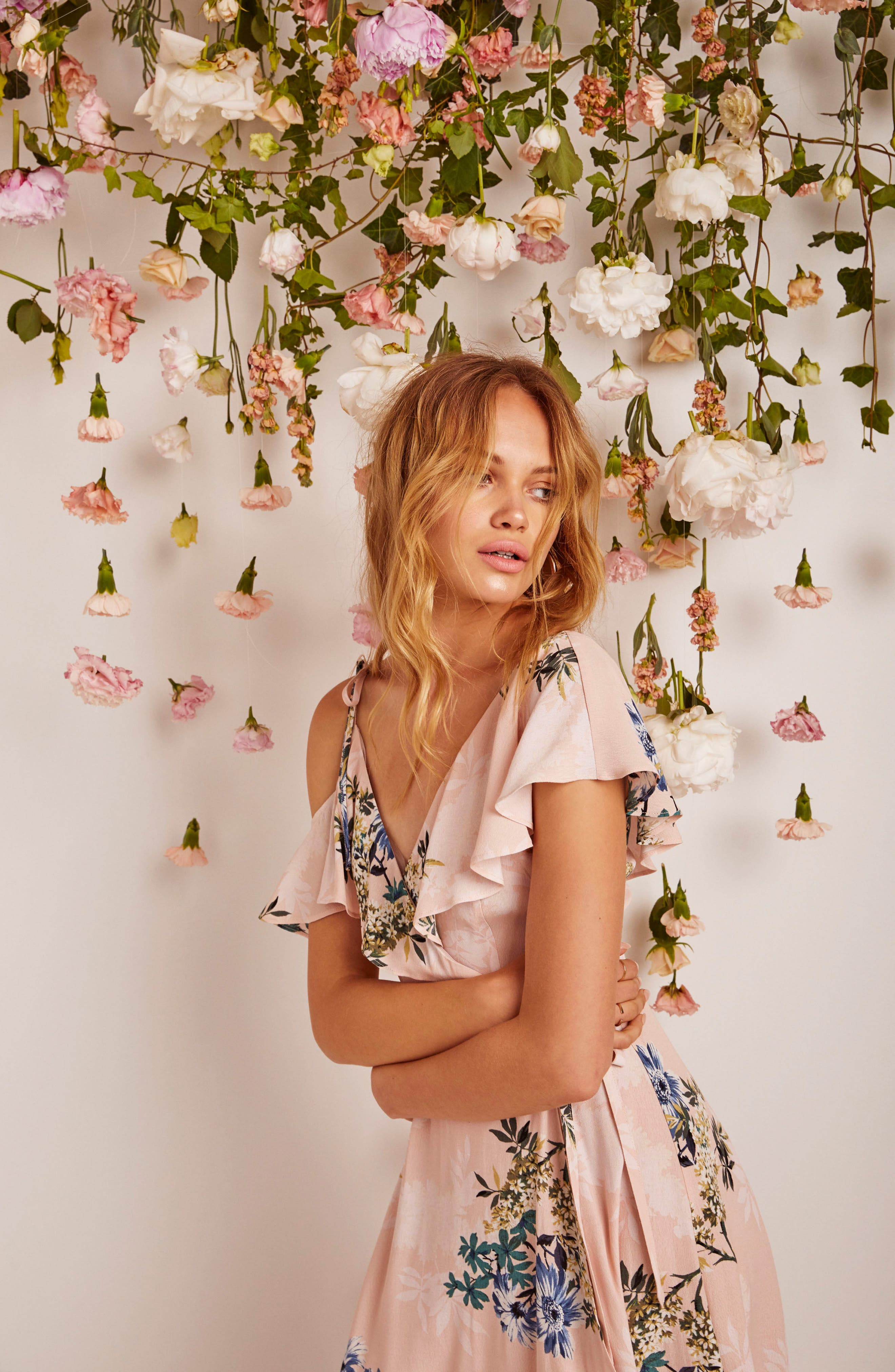 Yessenia Wrap Dress,                             Alternate thumbnail 4, color,                             Blush Multi Floral